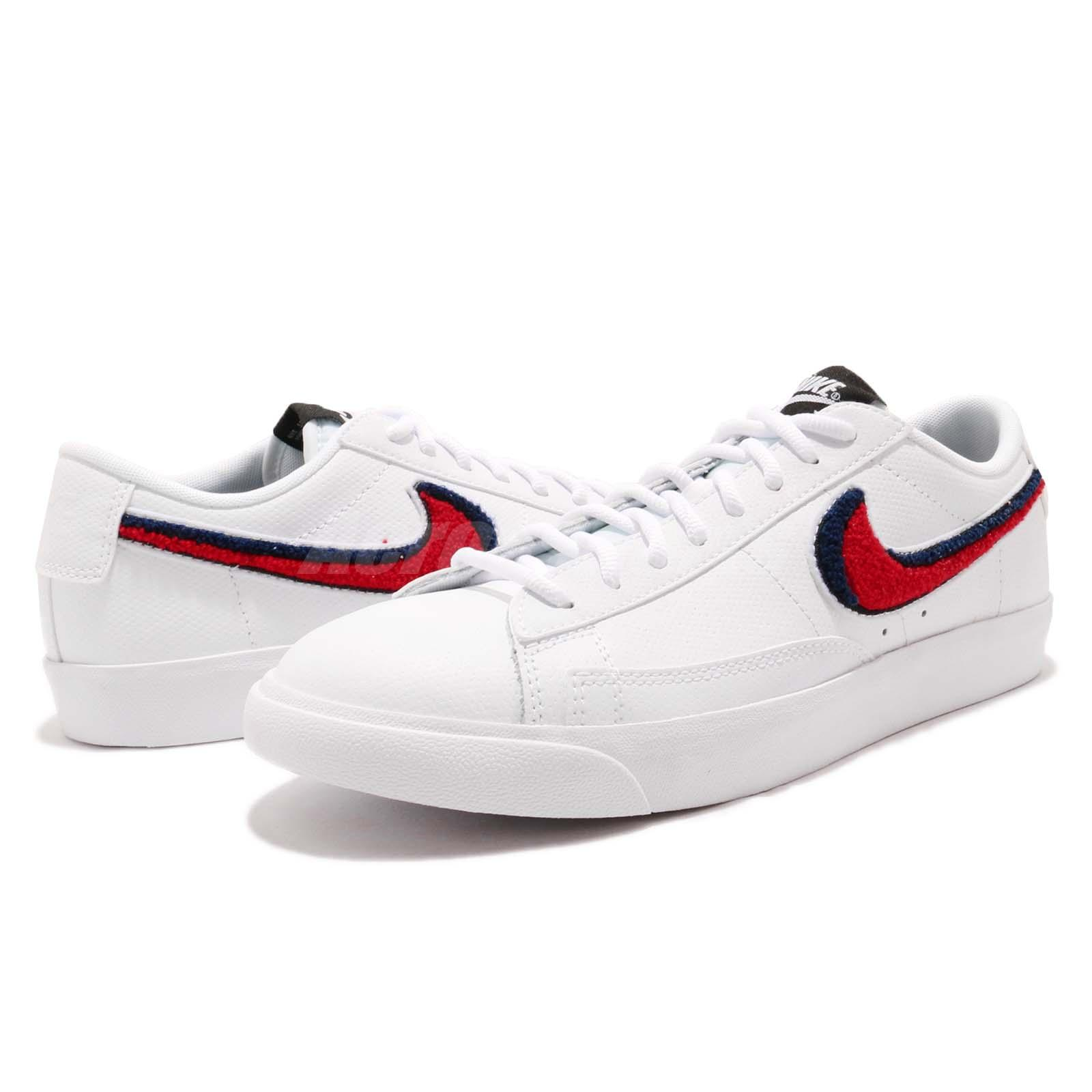 53678ee511a64 Nike Blazer Low 3D White Red Blue Men Casual Lifestyle Shoes ...