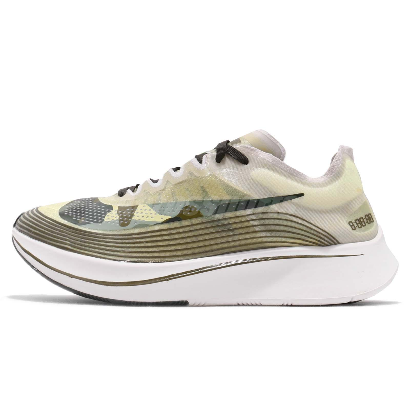 a29c3b25cfa7 Nike Zoom Fly SP Light Bone Black Olive Green Camo Mens Running Shoes  AV8074-001