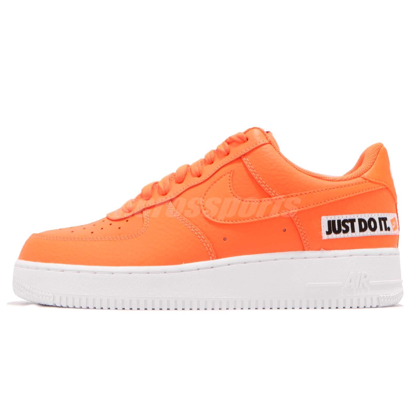 8b88bb03f092 Nike Air Force 1 07 LV8 JDI LTHR Just Do It Leather Orange Sneakers  BQ5360-800