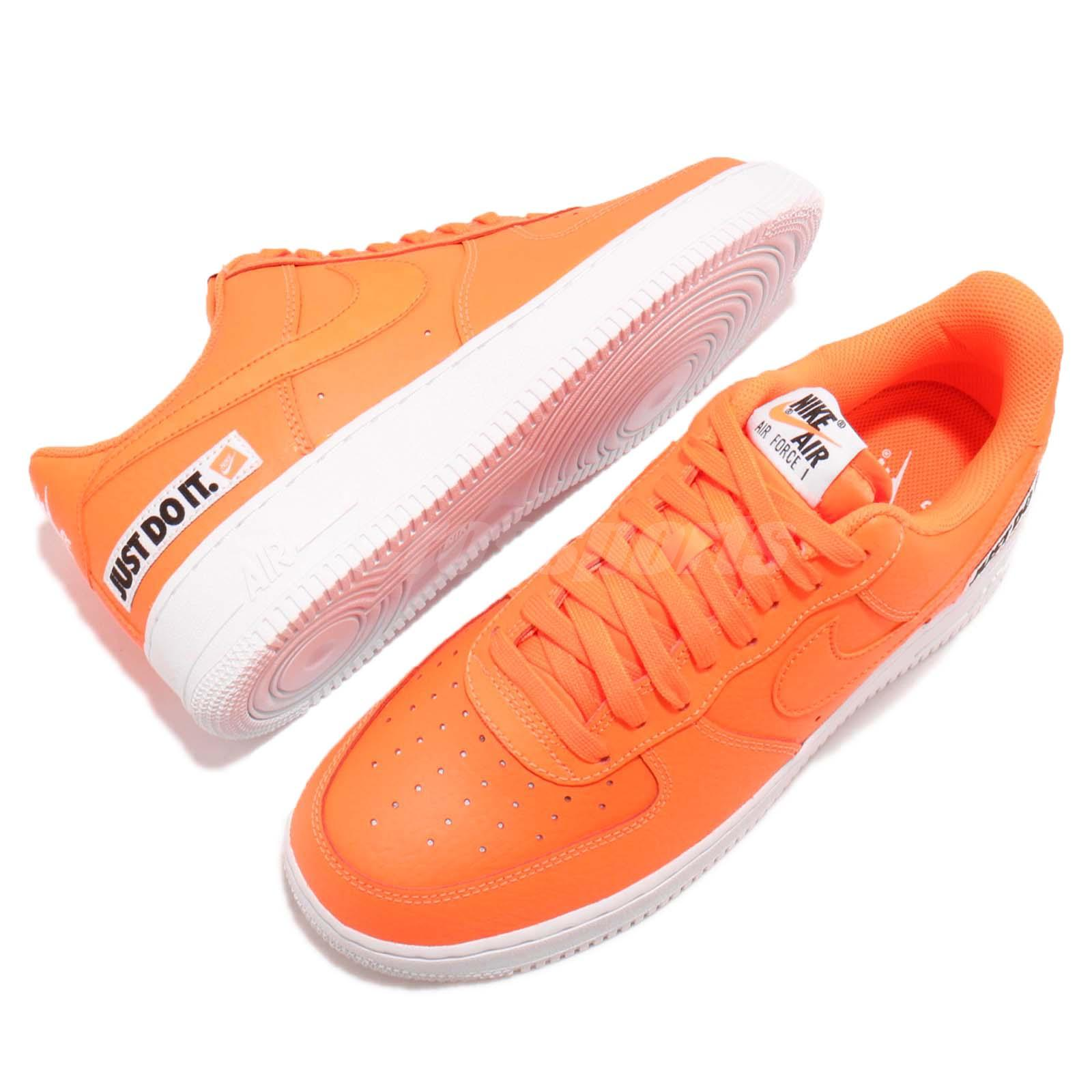 100% authentic 4fa55 f8dd0 Nike Air Force 1 07 LV8 JDI LTHR Just Do It Leather Orange Sneakers ...