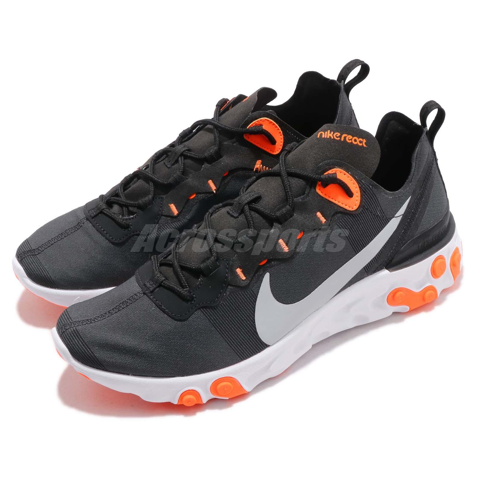 Details about Nike React Element 55 Black Grey Orange Men Running Shoes  Sneakers BQ6166-006 9716544dc