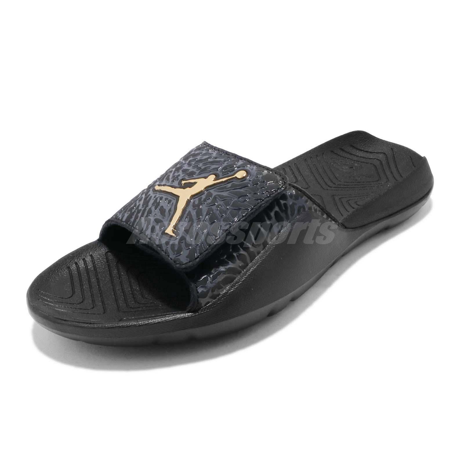 1d3fe94197872b Nike Jordan Hydro 7 V2 Black Gold Men Sports Sandals Slides Slippers BQ6290- 007
