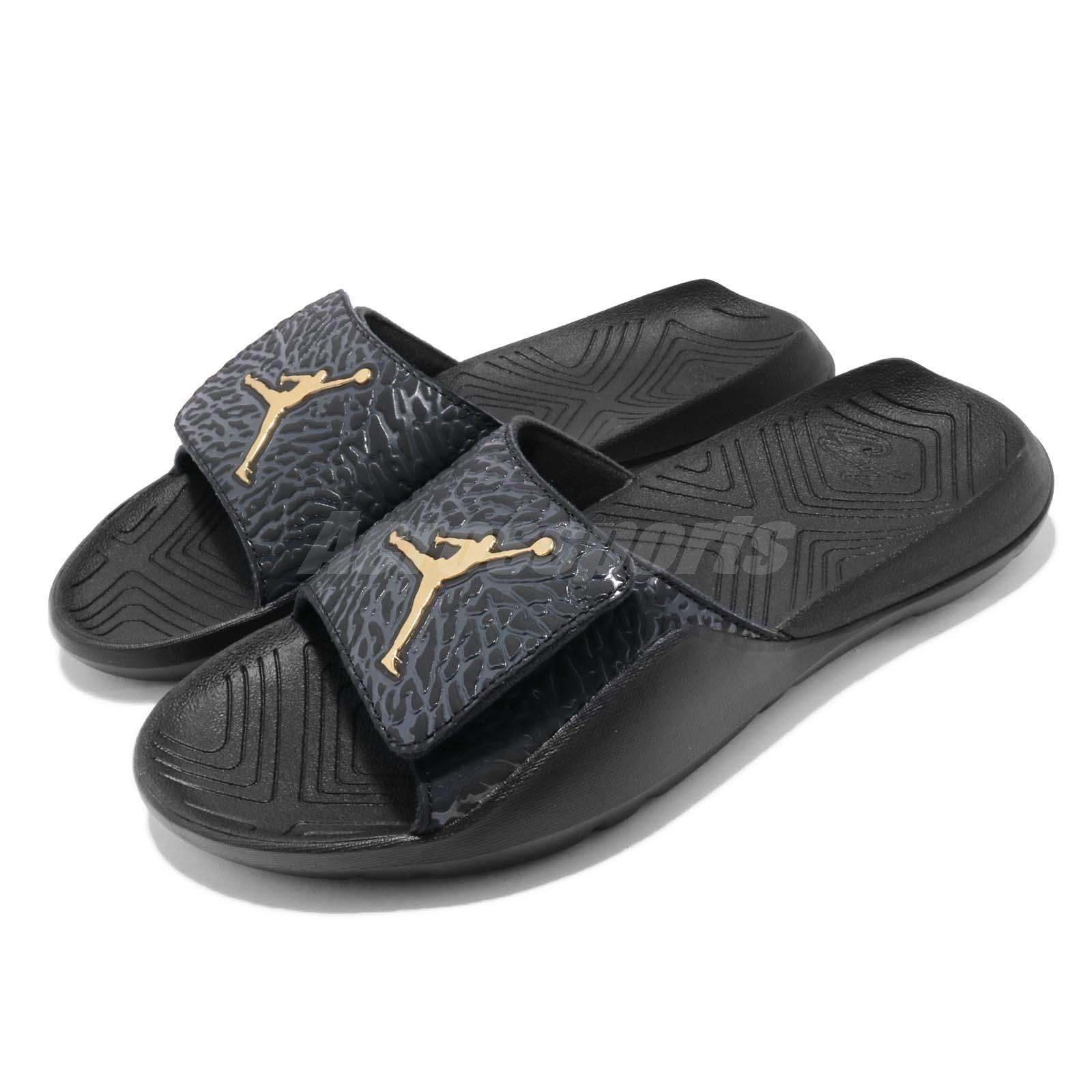 8645a7fb6159 Details about Nike Jordan Hydro 7 V2 Black Gold Men Sports Sandals Slides  Slippers BQ6290-007