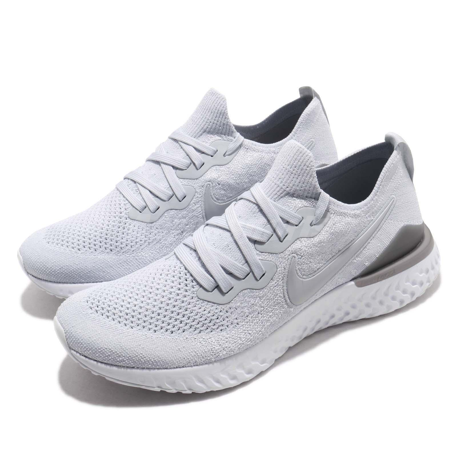 19235bb3fb8d Details about Nike Epic React Flyknit 2 II Pure Platinum Men Running Shoes  Sneakers BQ8928-004