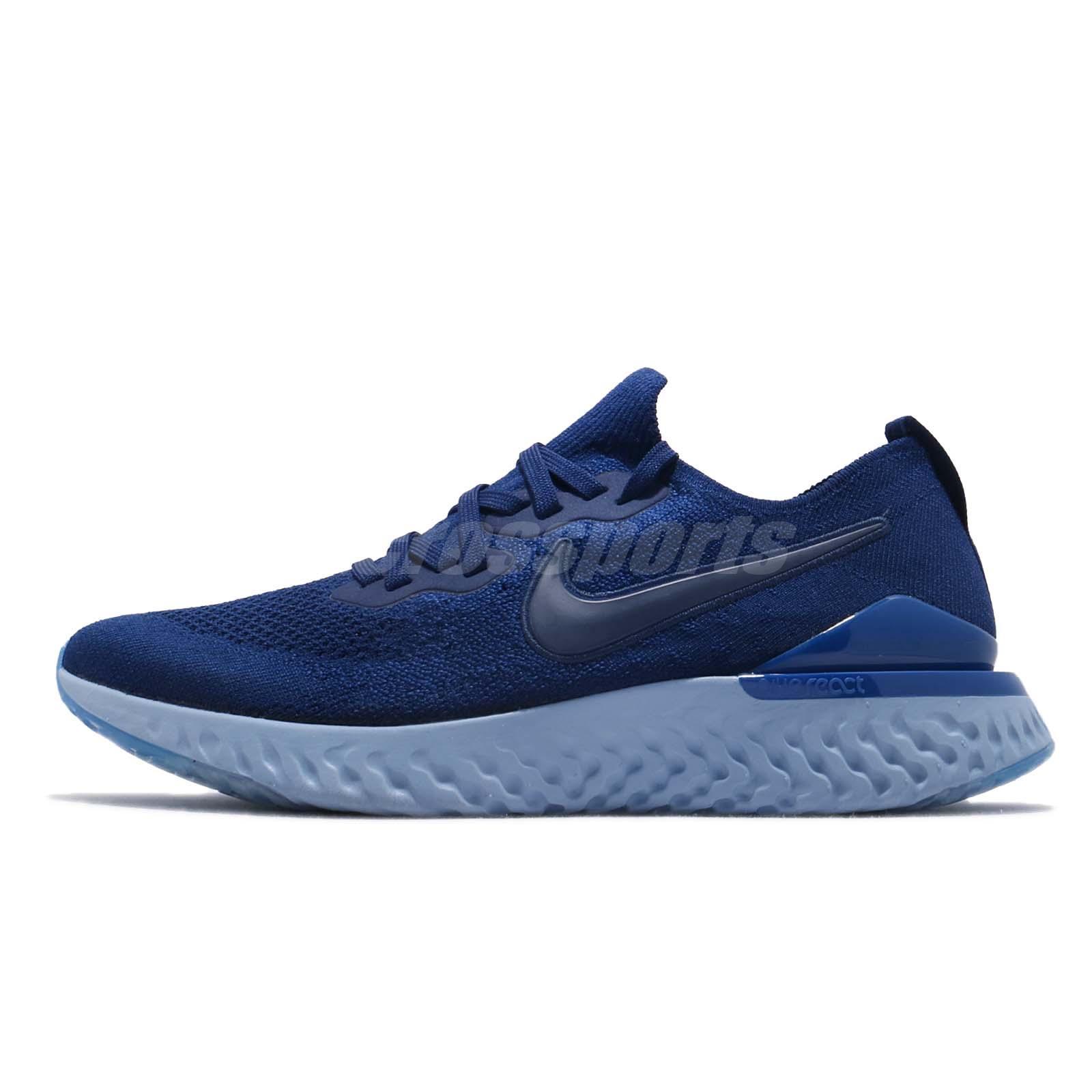ea734cc43b3d10 Nike Epic React Flyknit 2 II Blue Void Men Running Shoes Sneakers BQ8928-400