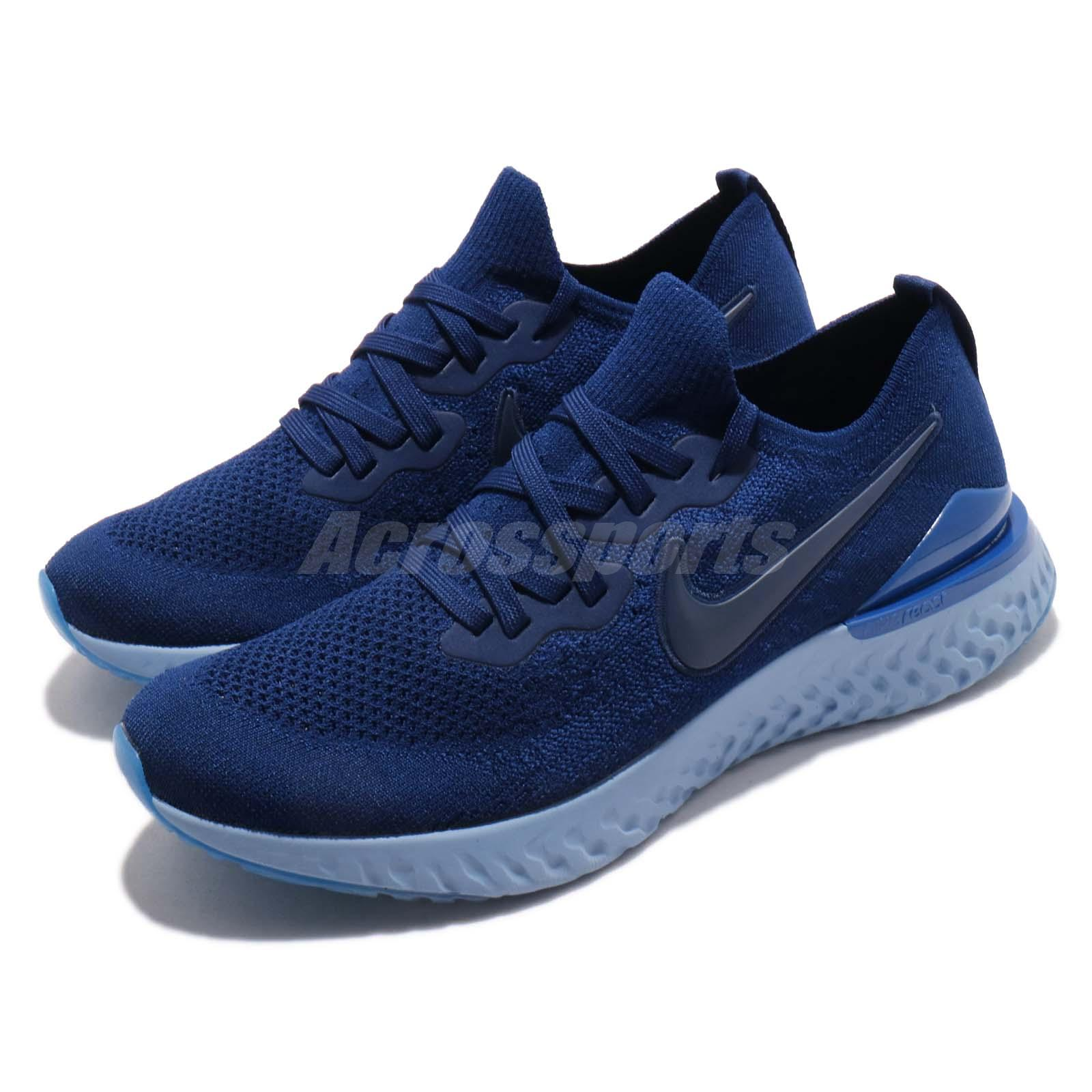 89ec9c5f95bc Details about Nike Epic React Flyknit 2 II Blue Void Men Running Shoes  Sneakers BQ8928-400