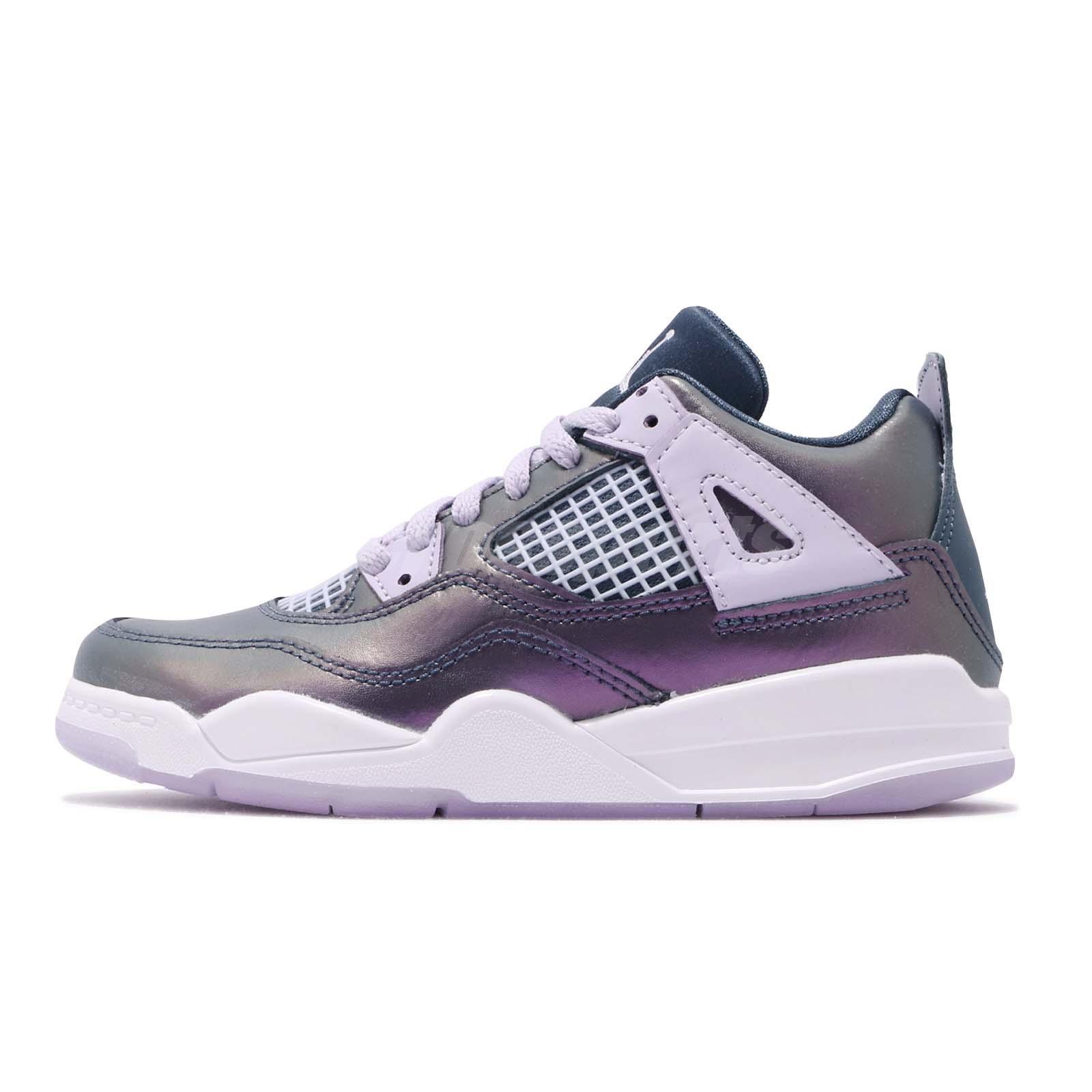 release date 47e83 fd9fc Details about Nike Jordan 4 Retro PS IV AJ4 Monsoon Blue White Kid  Preschool Shoes BQ9042-400