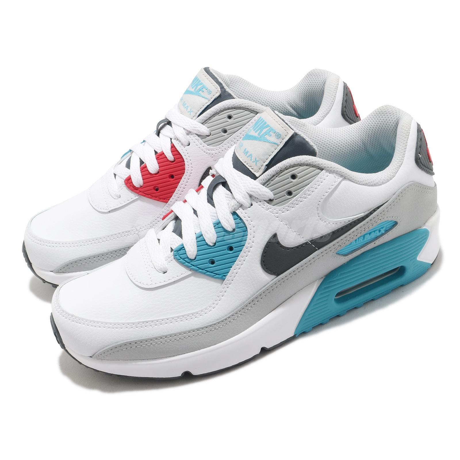 Nike Air Max 90 LTR GS White Grey Chlorine Blue Red Kid Women ...