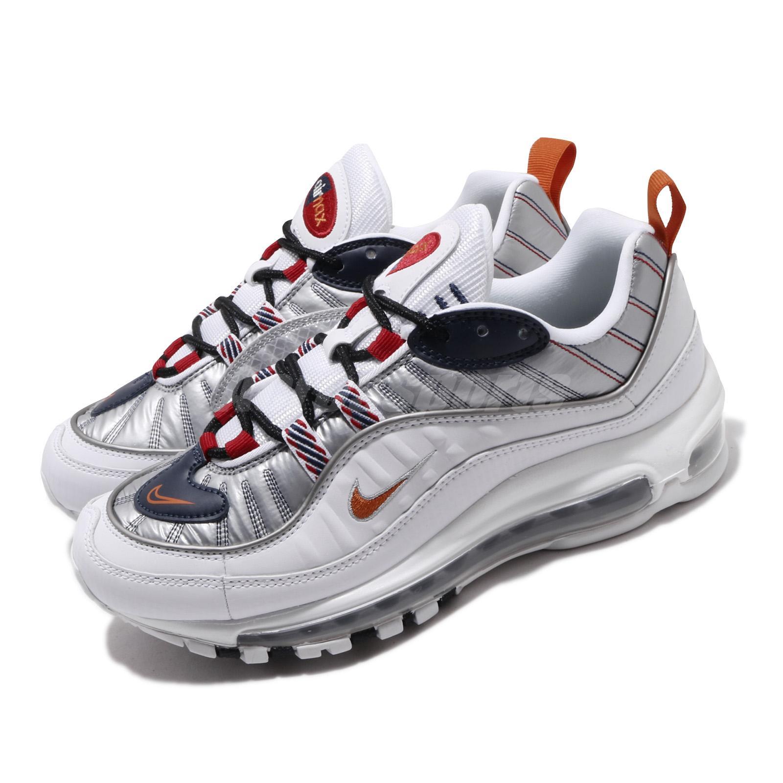 nike air max 98 white/orange/silver
