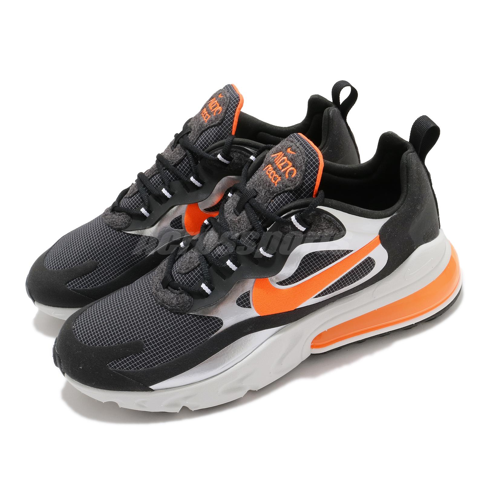 Nike Air Max 270 React Black Orange Men Lifestyle Shoes Sneakers Cq4598 084 Ebay