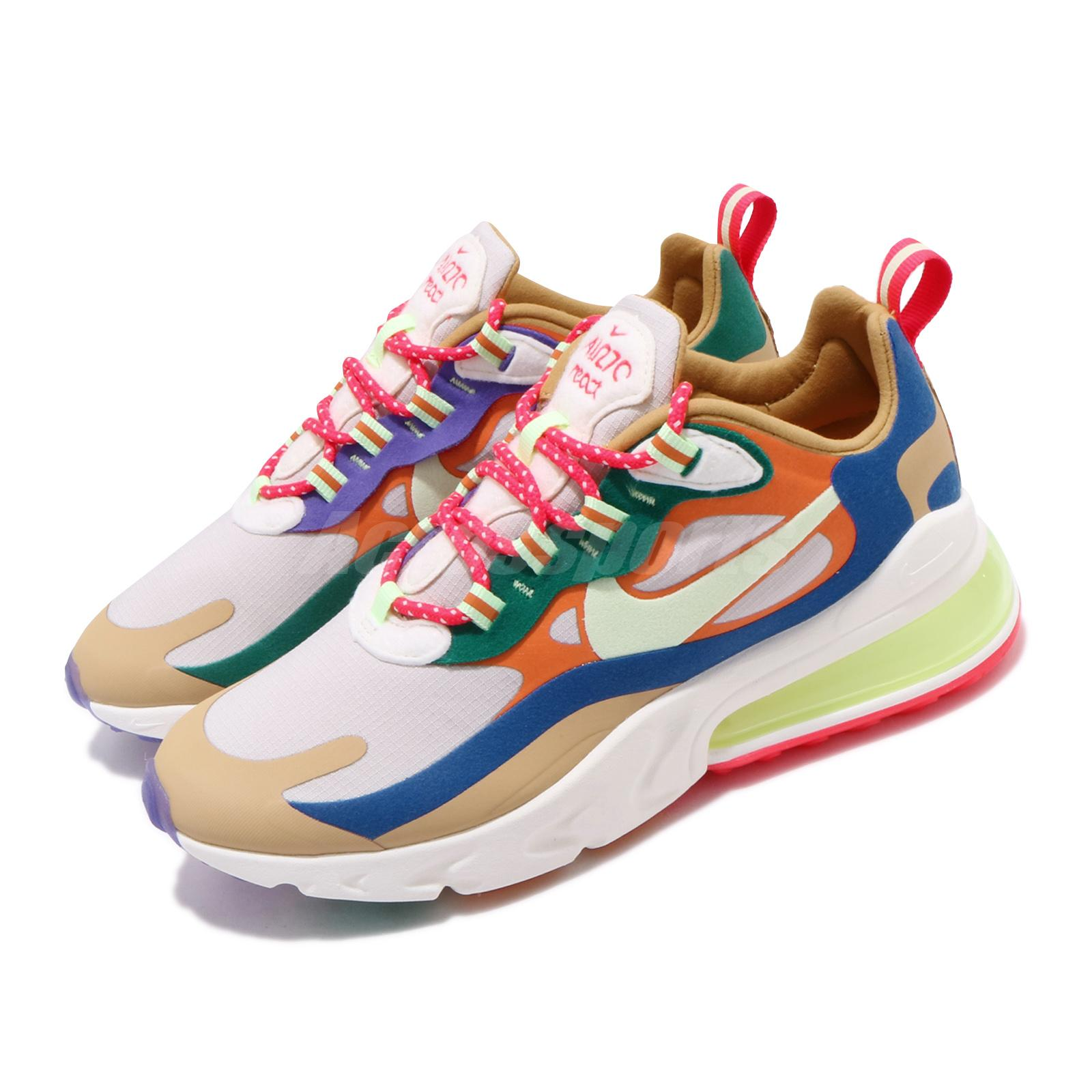 Details about Nike Wmns Air Max 270 React Desert Sand Volt Blue Womens  Running Shoe CQ4805-071