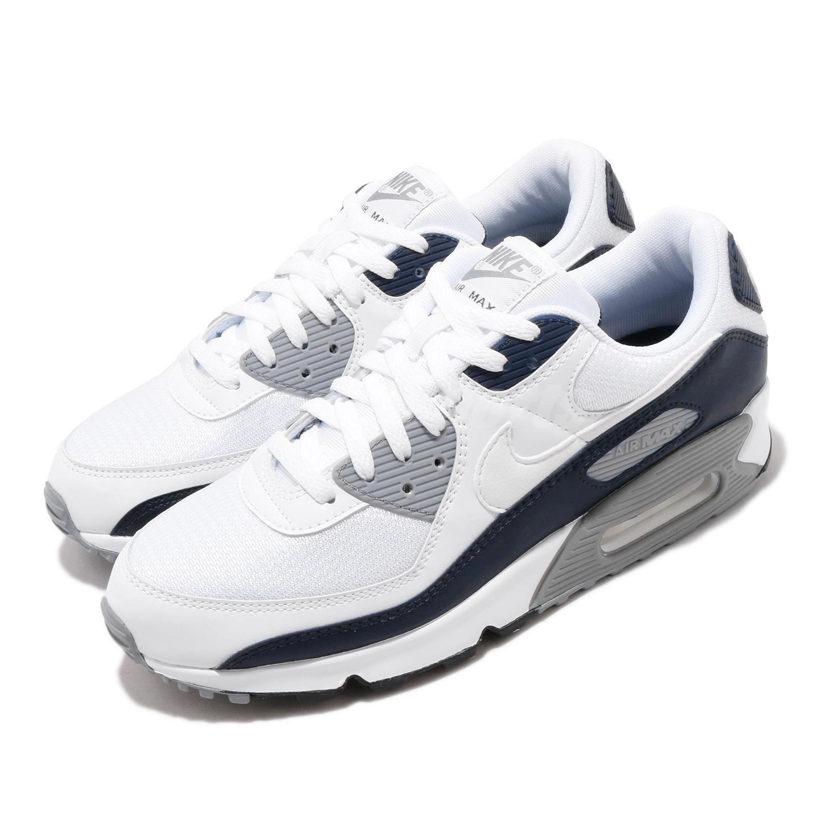 Nike Air Max 90 Nsw White Grey Navy Men Lifestyle Shoes Sneakers
