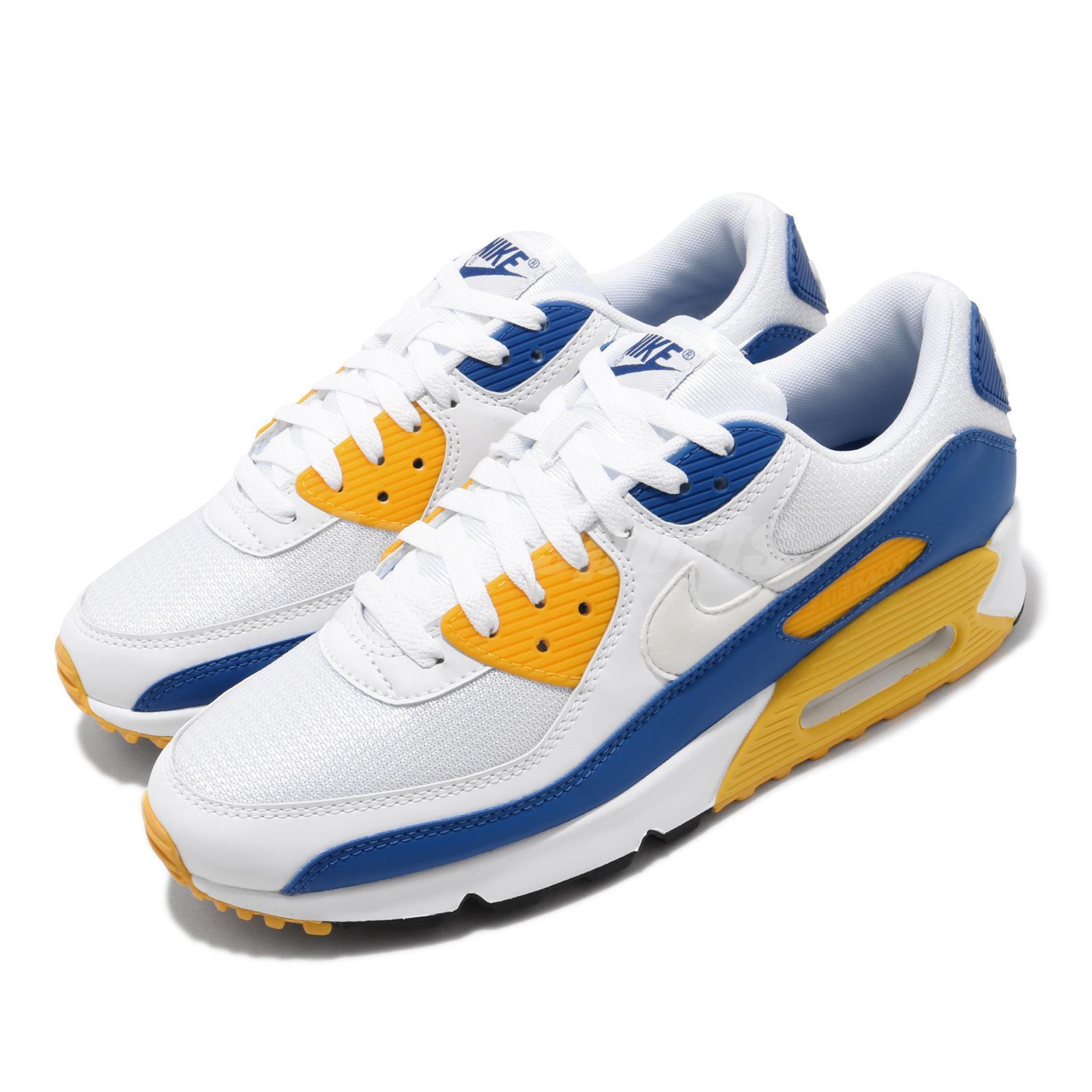 suspender habilidad Coro  Nike Air Max 90 Knicks Warriors Wolverine White Blue Yellow Men Shoes  CT4352-101 | eBay