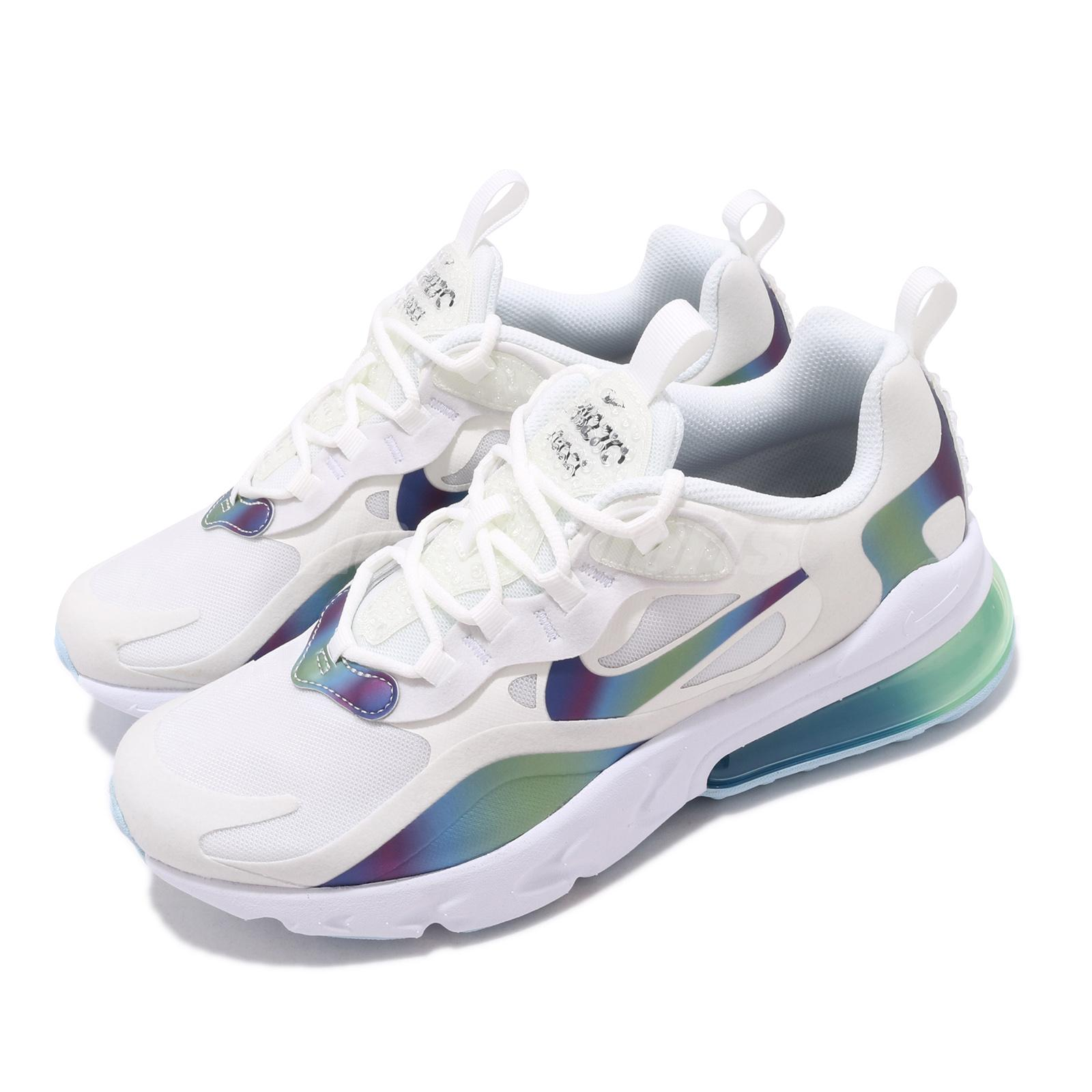 Nike Air Max 270 React Gs White Multi Color Bubble Pack Womens