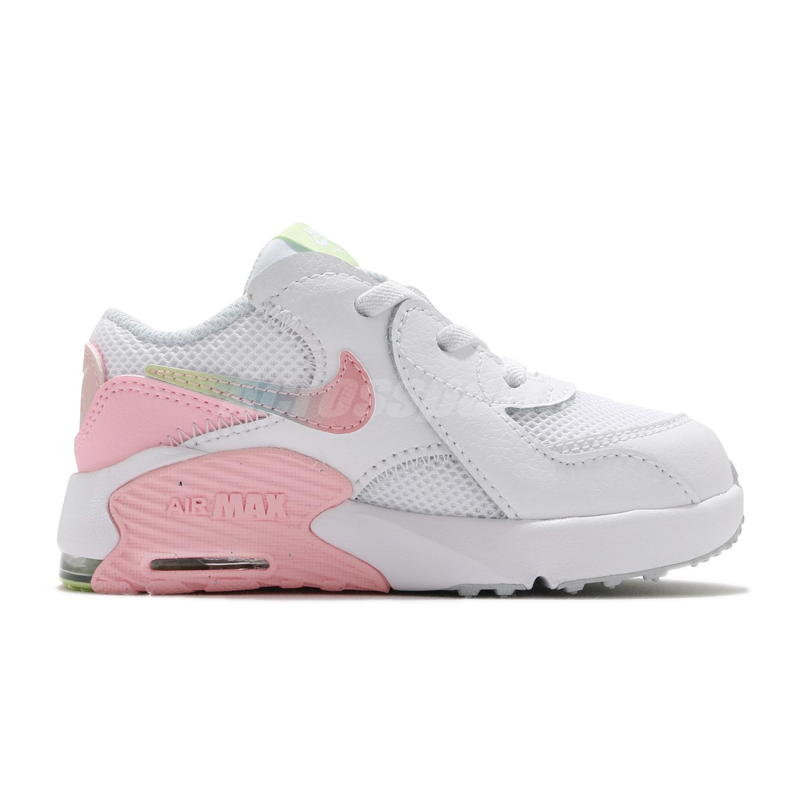 Details about Nike Air Max Excee MWH TD White Pink Lime Green Toddler Infant Casual CW5830-100