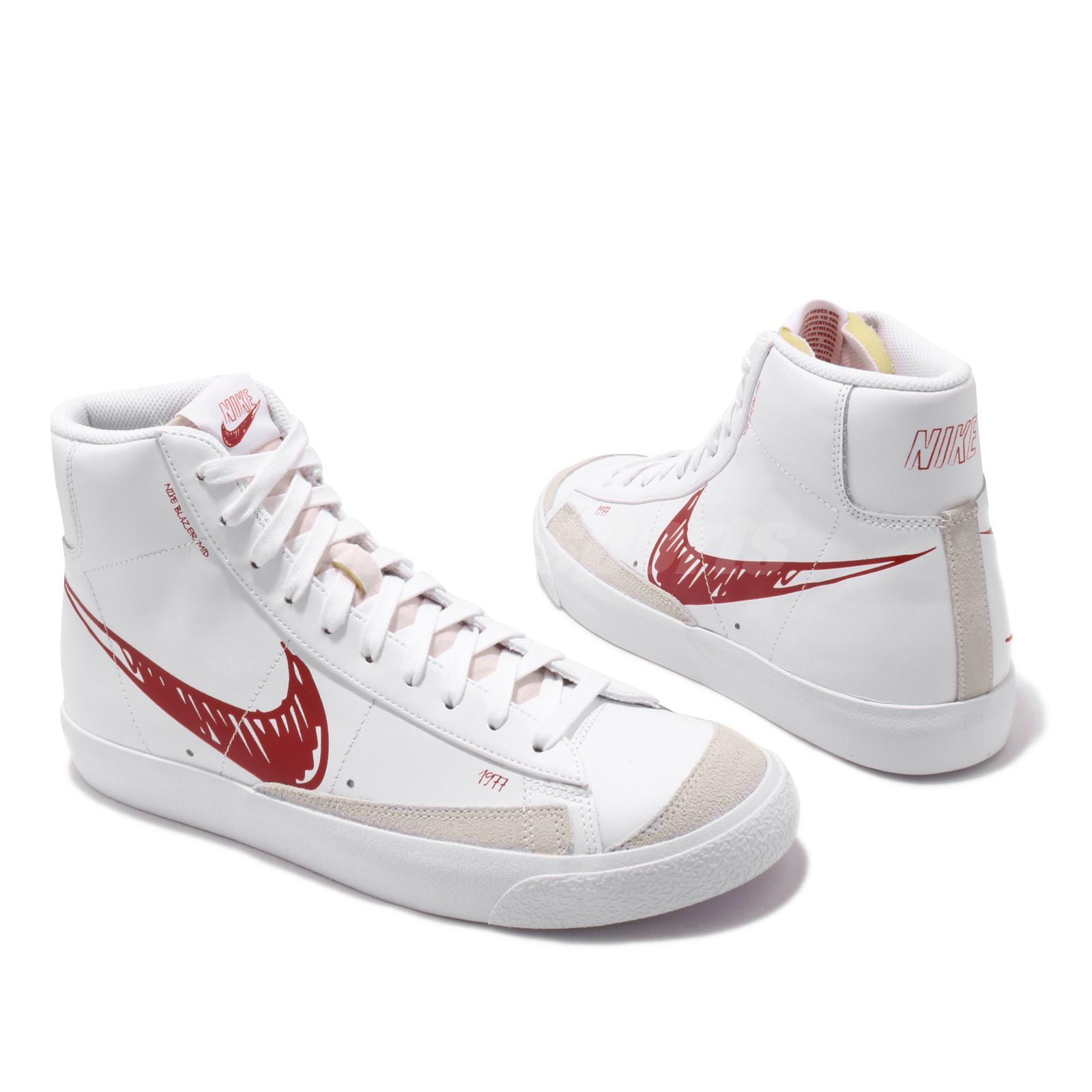 Details about Nike Blazer Mid VNTG 77 Sketch White Red Women Men Vintage  Shoes CW7580-100