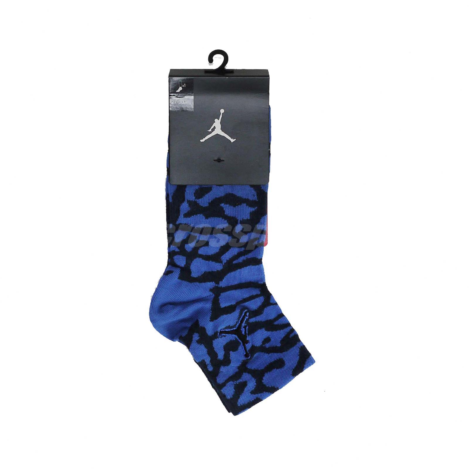 Nike Uni Air Jordan Elephant Print Quater Socks Blue Black SX5858