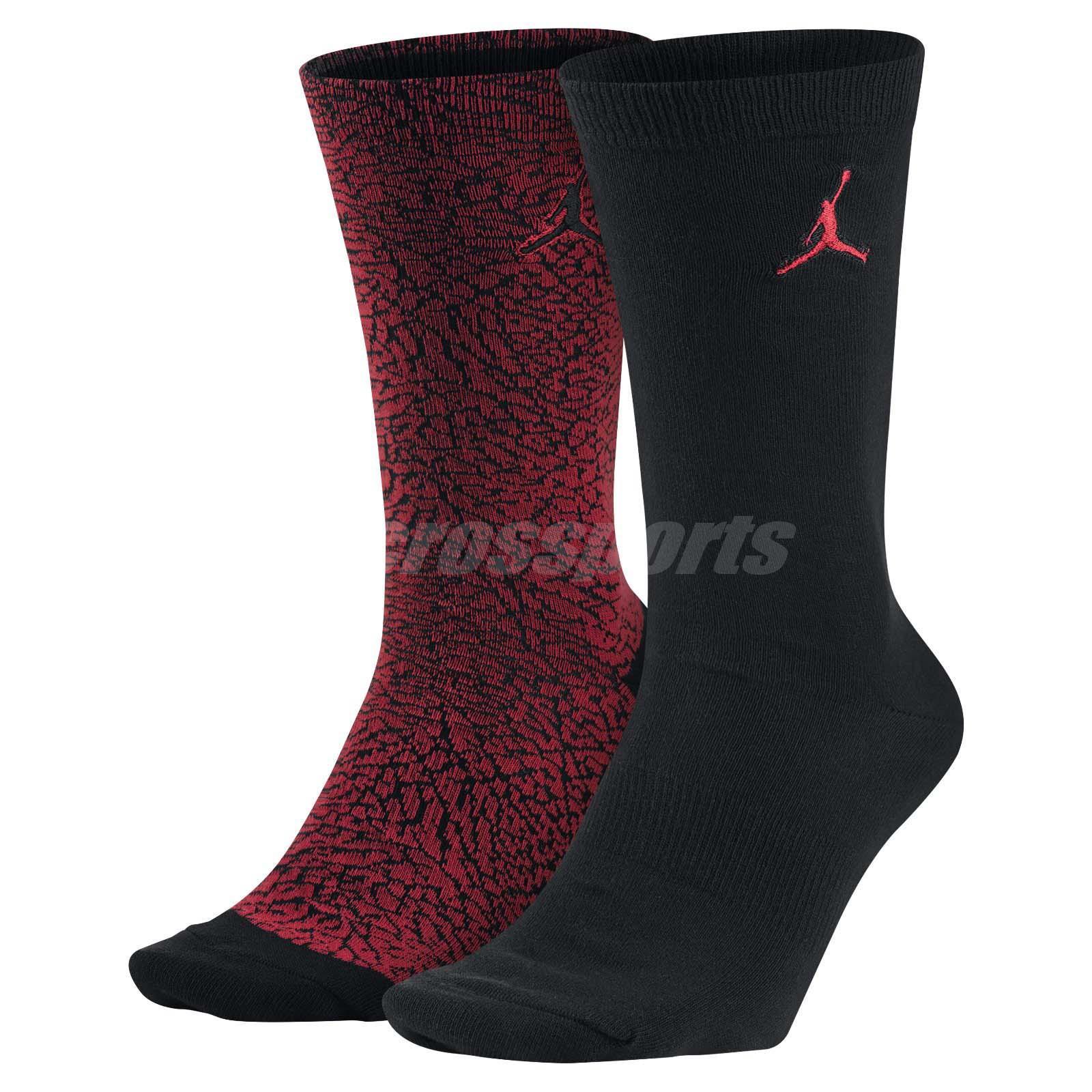 8f9513da748d Nike Unisex Jordan Elephant Crew Socks 2 Pairs 1 Pack Air Jumpman AJ  SX5859-657