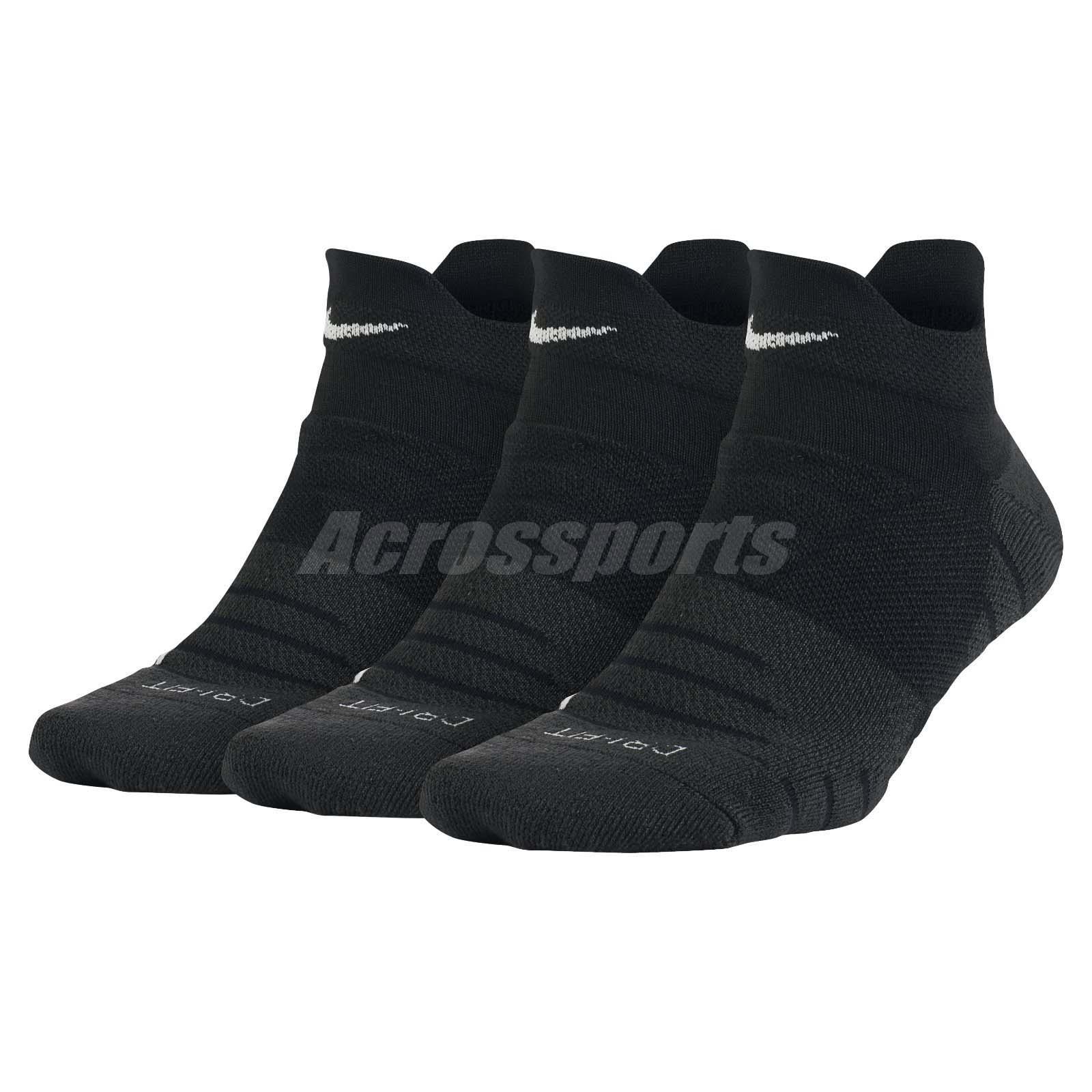 nike donne asciutto imbottiti basso formazione calzini 3 paia 1 confezione palestra nero