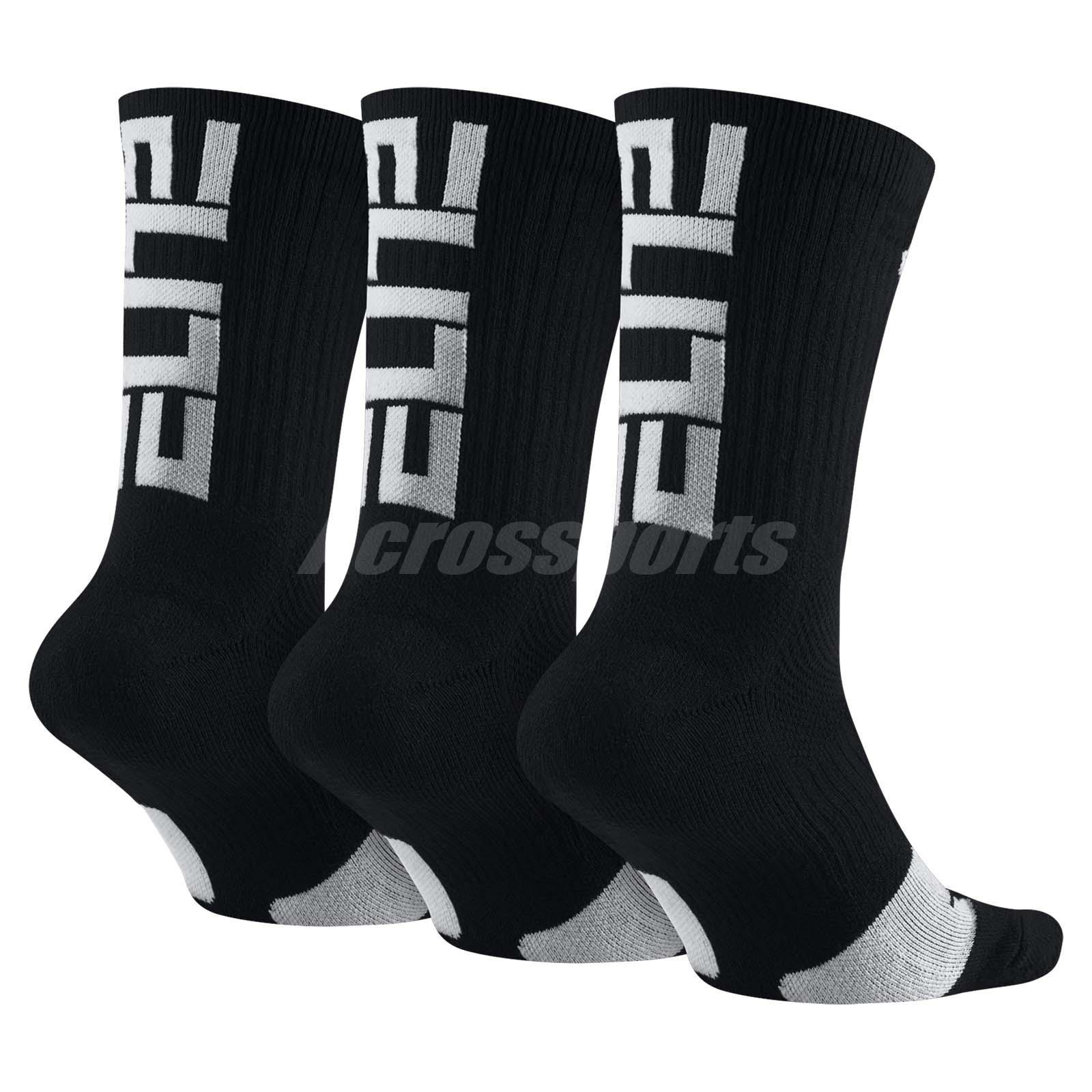 Nike Elite Crew Basketball Socks 3 Pairs 1 Pack Hoops Training Black SX7627-010