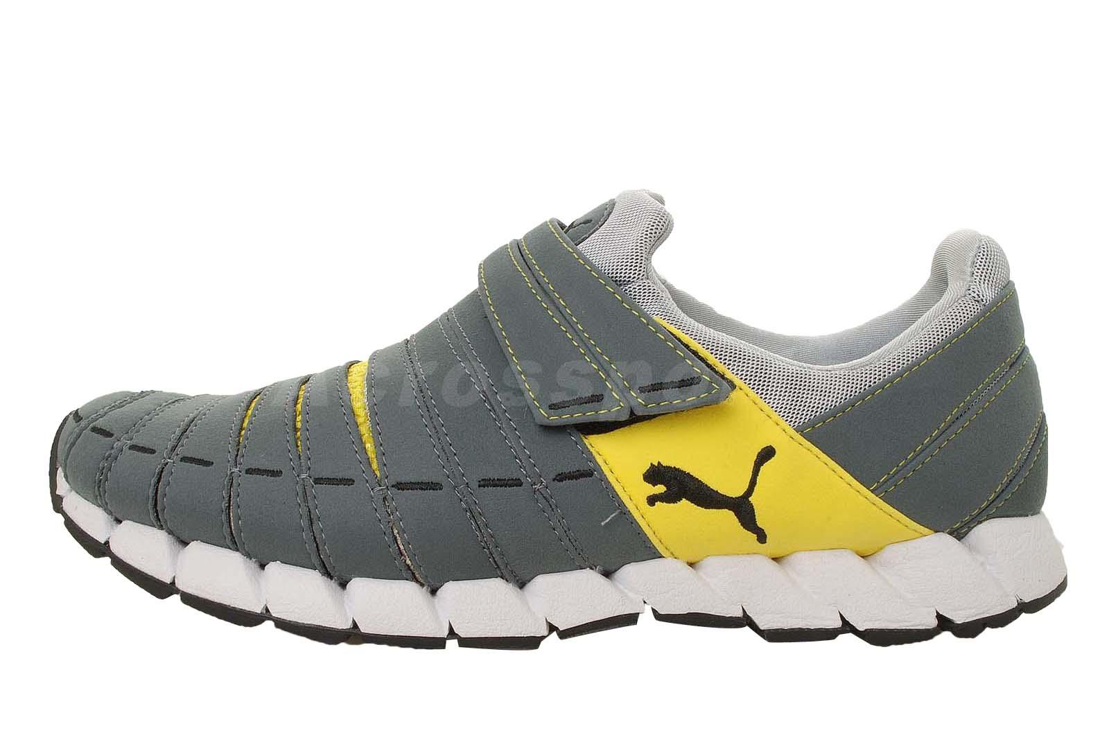Puma Osu NM Dark Grey Yellow Velcro Mens Running Shoes ...