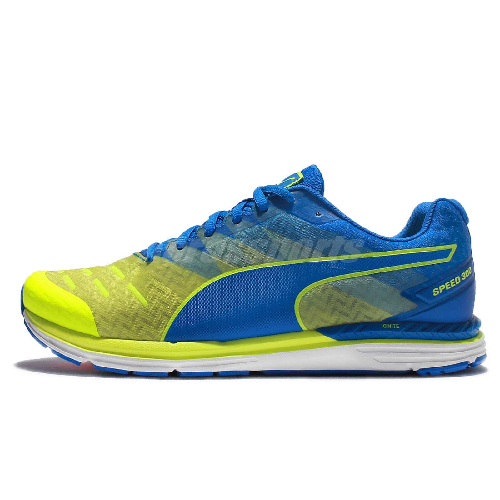 Puma Speed 300 Ignite Yellow Blue Mens Running Shoes Sneakers Runner  188114-08