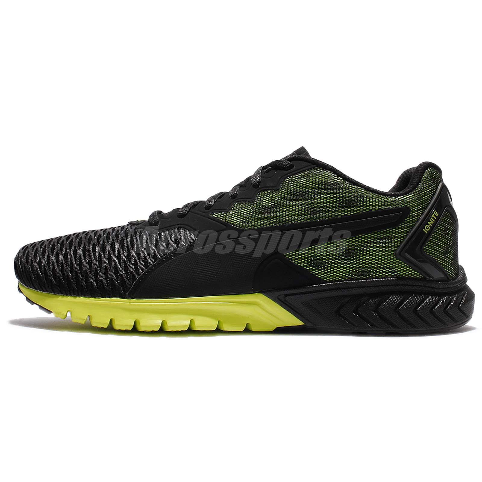 Puma Ignite Dual Black Safety Yellow Men Running Shoes Sneakers 189094-07