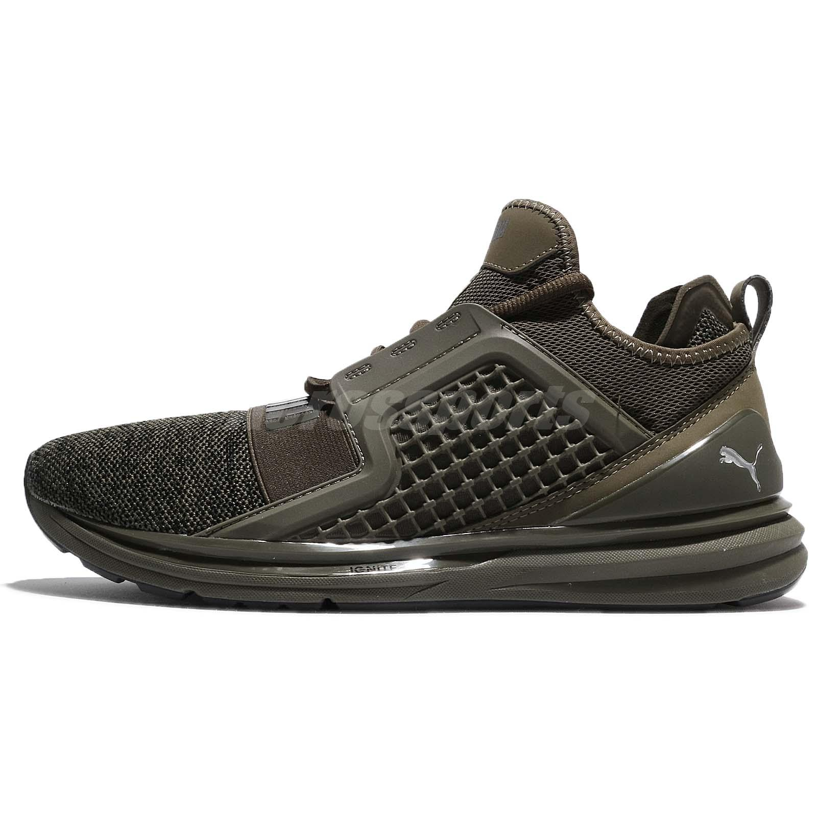 b2019e1c2618 Puma Ignite Limitless Knit Olive Night Black Men Running Shoes Sneaker  189987-03
