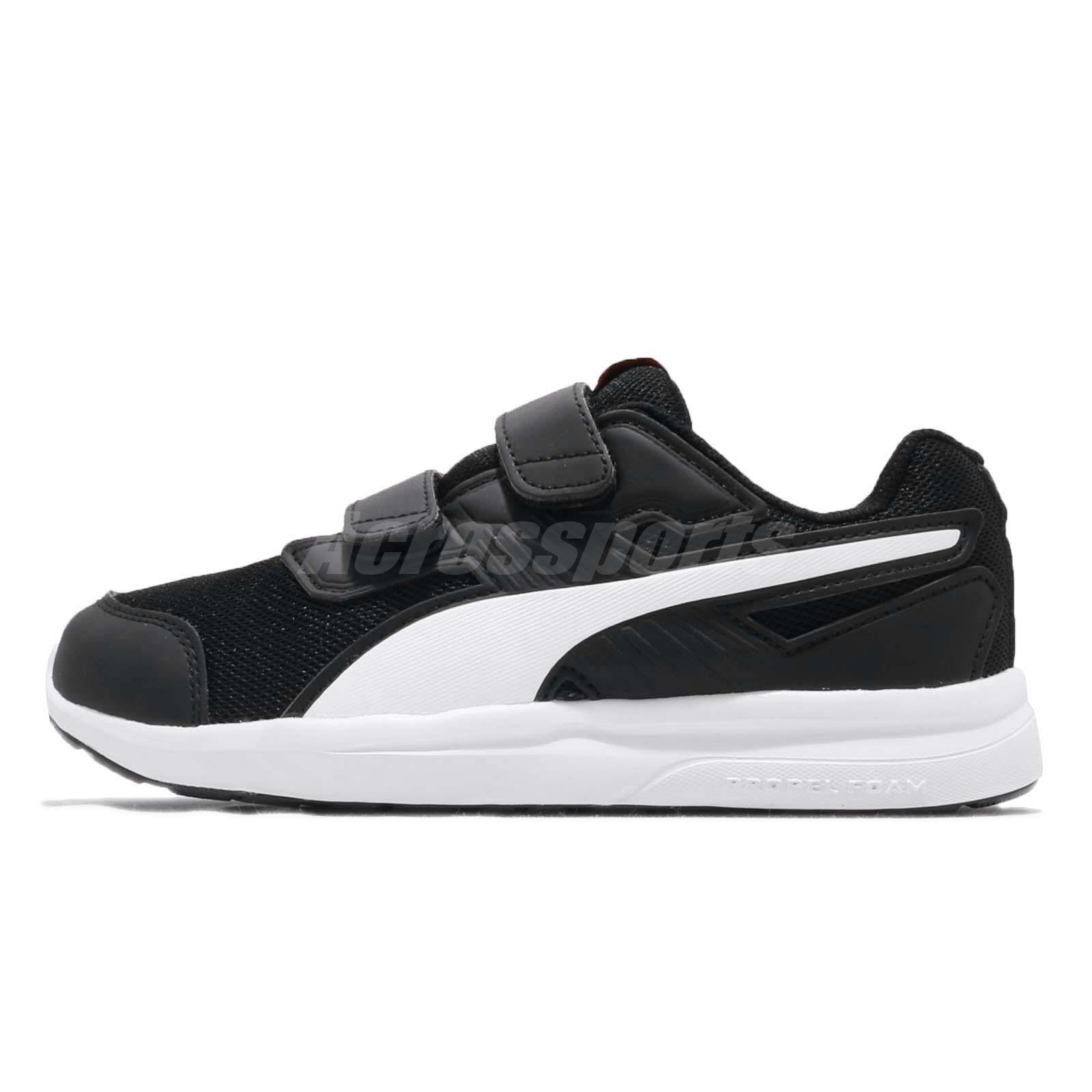 Puma Escaper Mesh V PS Black White Strap Kid Preschool Shoes Sneakers 190326 -08 d1466ea89eb