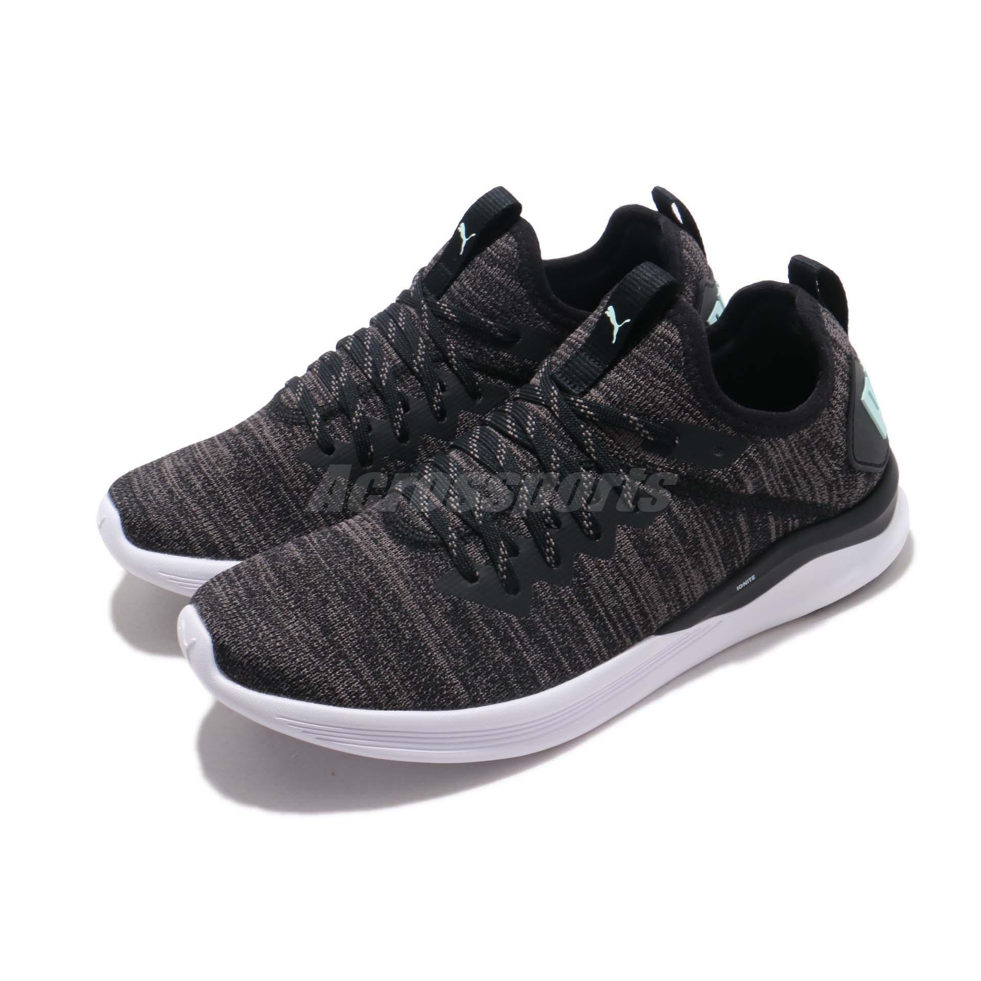 Details about Puma Ignite Flash EvoKnit Wns Black Charcoal Fair Aqua Women  Shoes 190511-17 577468f77