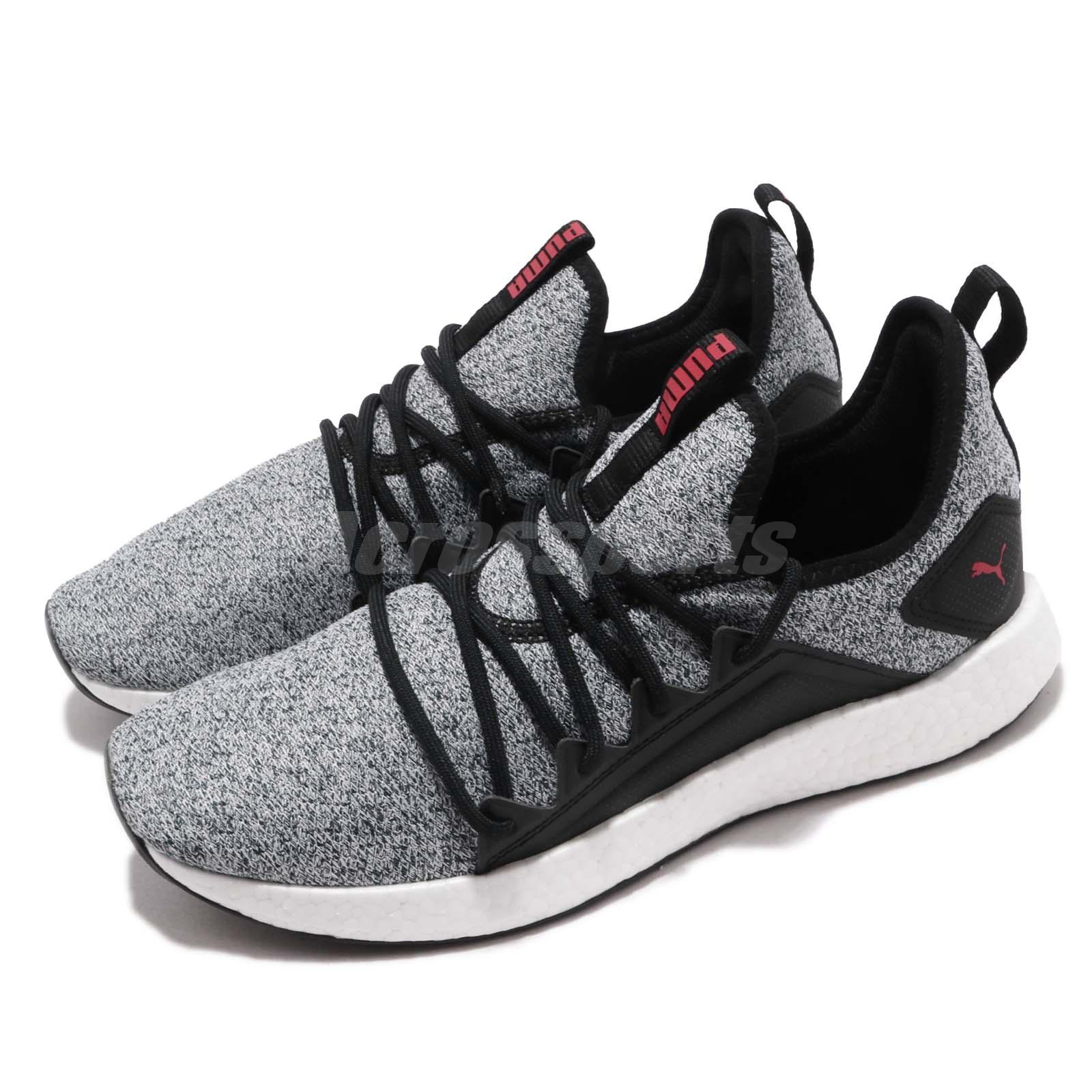 huge discount 461bc 093e0 Details about Puma NRGY Neko Knit Black White High Risk Red Men Running  Shoe Sneaker 191093-05