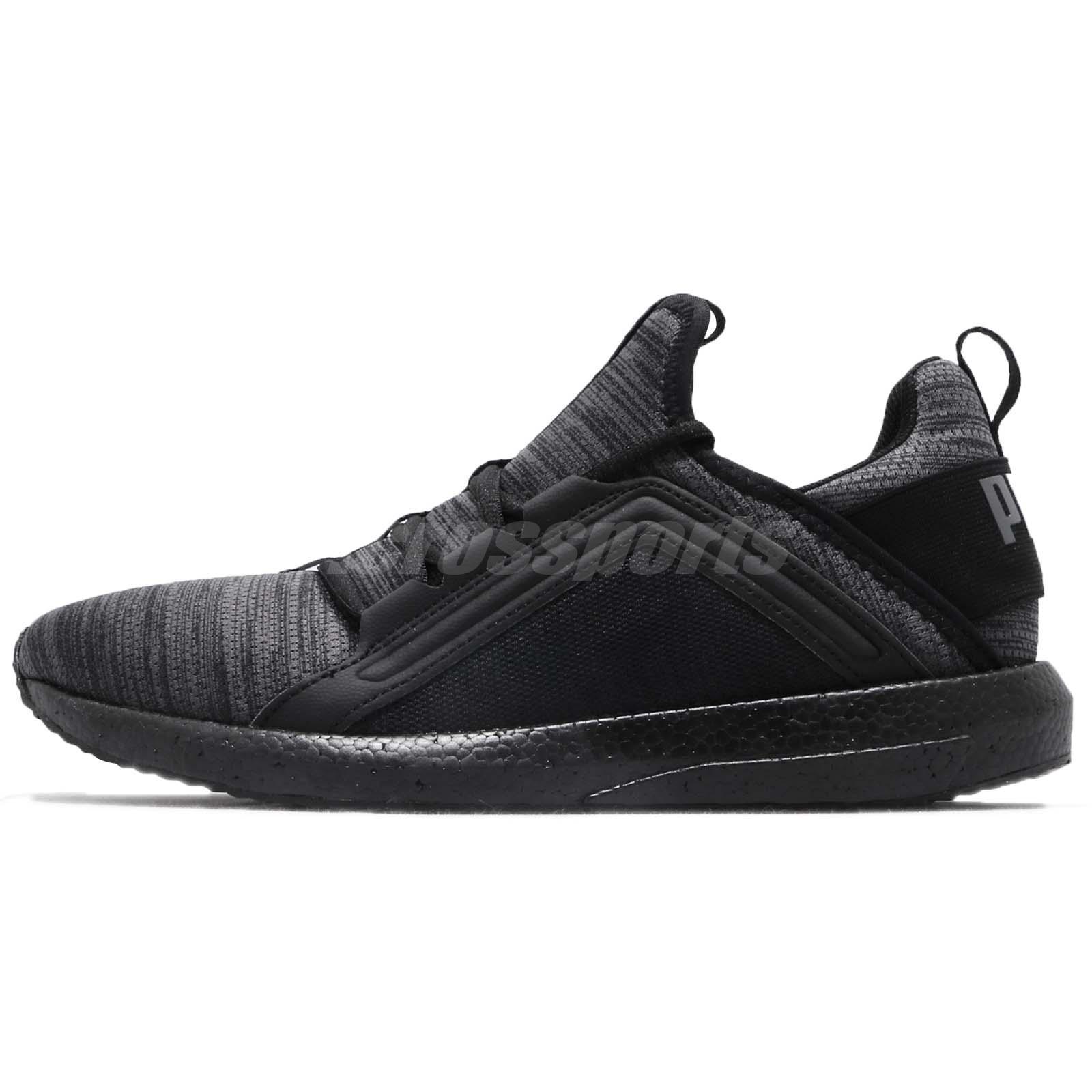 c42208268fc Puma Mega NRGY Heather Knit Black Grey Men Running Shoes Sneakers 191095-06