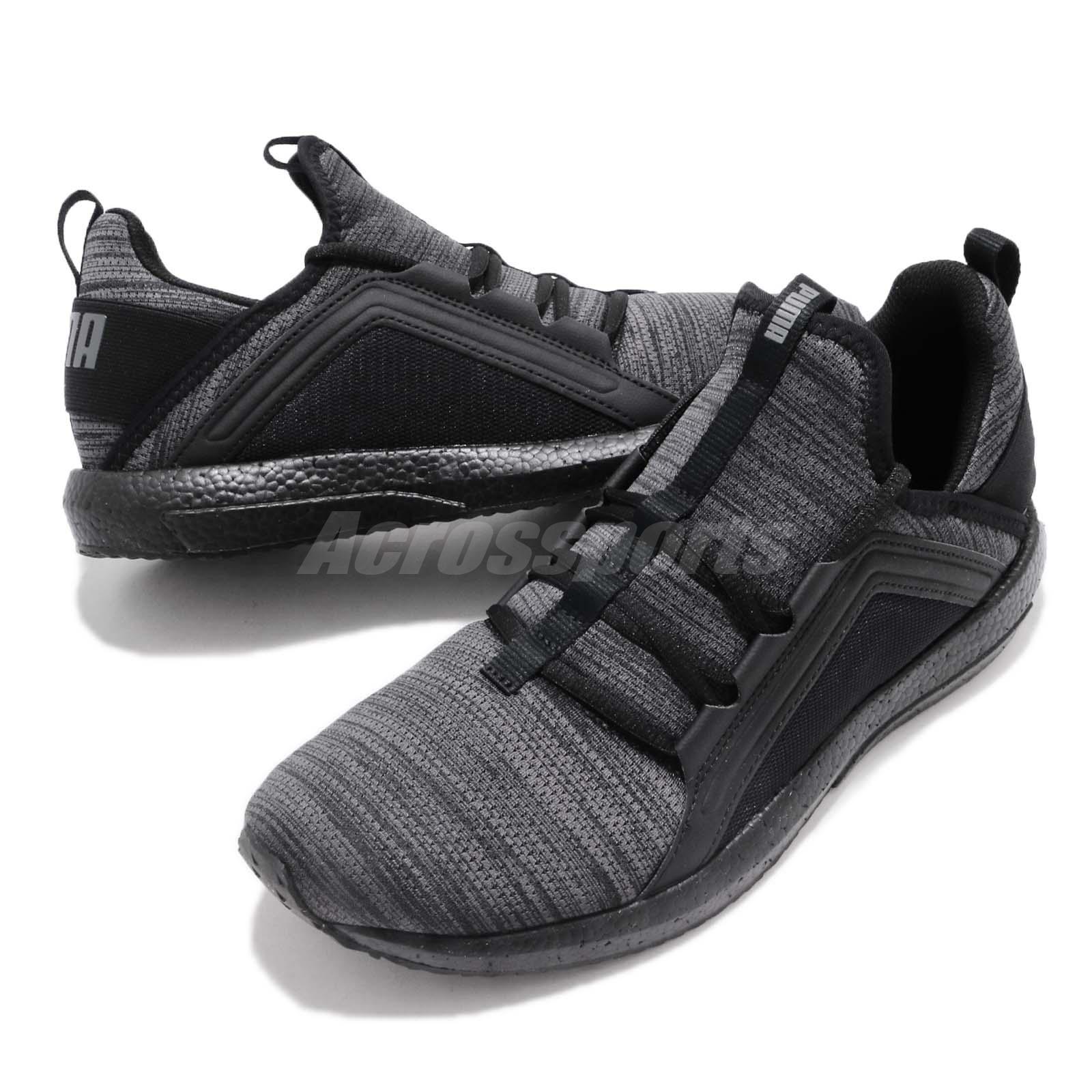 30fd36f7dd3 Puma Mega NRGY Heather Knit Black Grey Men Running Shoes Sneakers ...