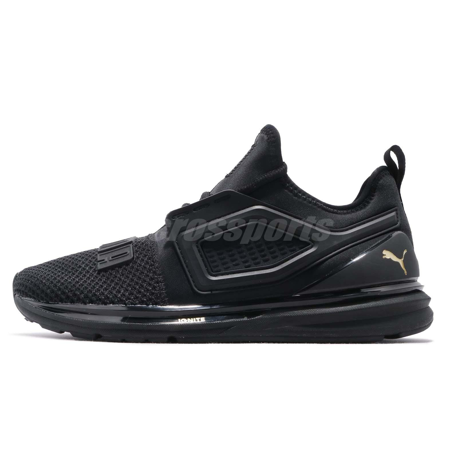 1dff656cfd90 Puma Ignite Limitless 2 Black Gold Men Running Casual Shoes Sneakers  191293-10