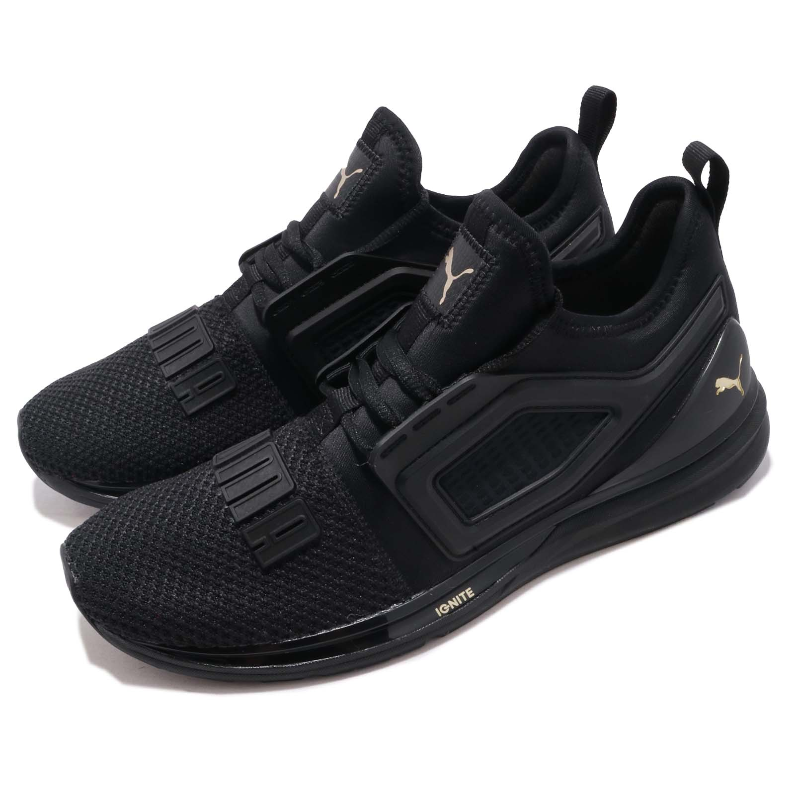 buy online fc048 817ef Details about Puma Ignite Limitless 2 Black Gold Men Running Casual Shoes  Sneakers 191293-10