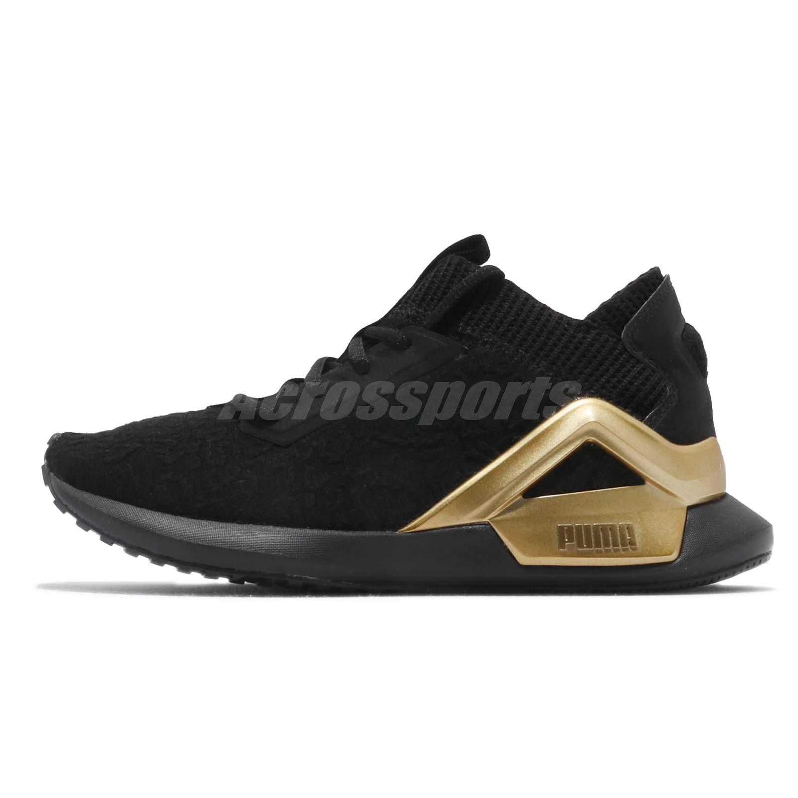 aee4f88cb2f4 Puma Rogue Metallic Wns Black Gold Women Cross Training Shoes Sneakers  192460-01