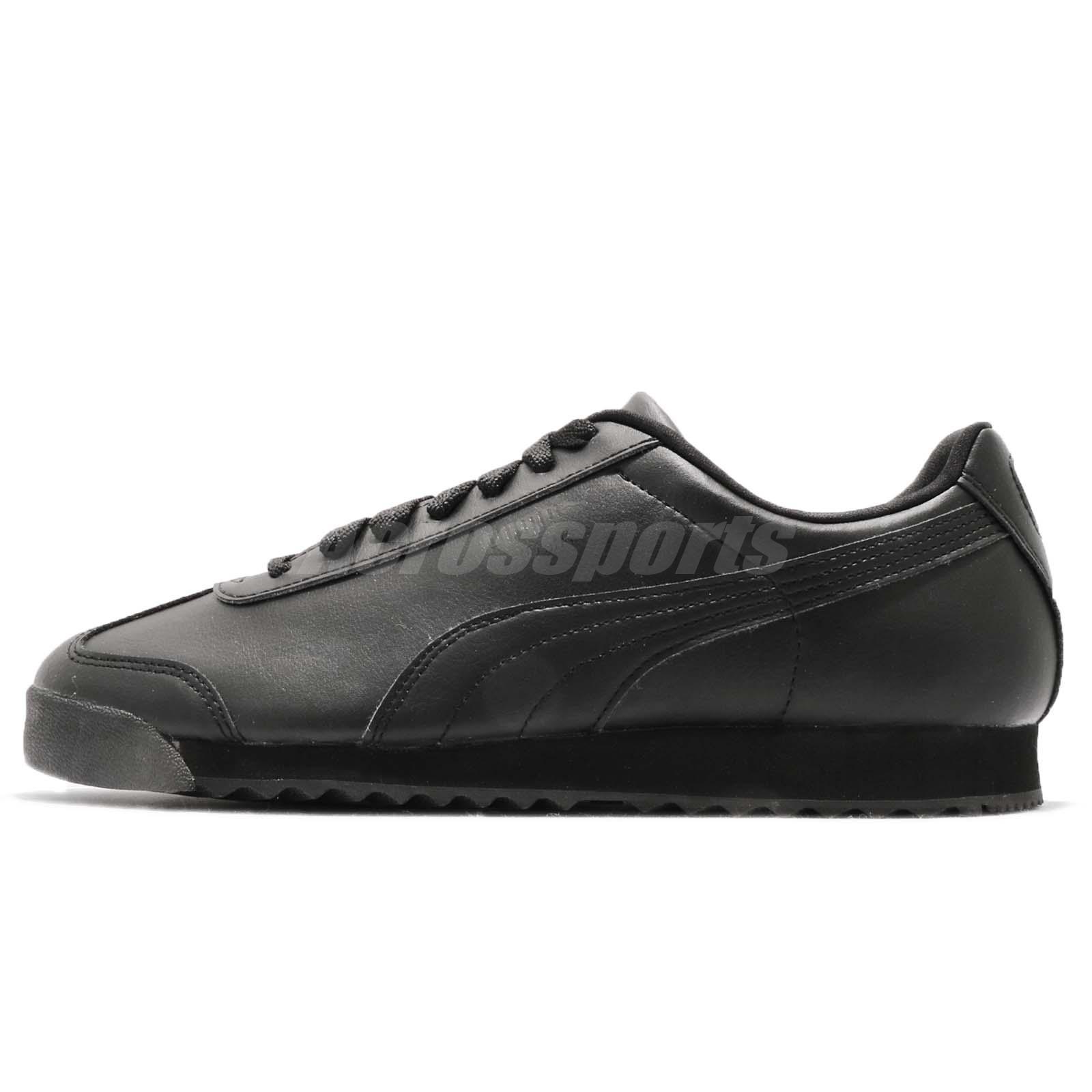 073e69333f64 Puma Roma Basic Triple Black Men Running Walking Casual Shoes Sneakers  353572-17