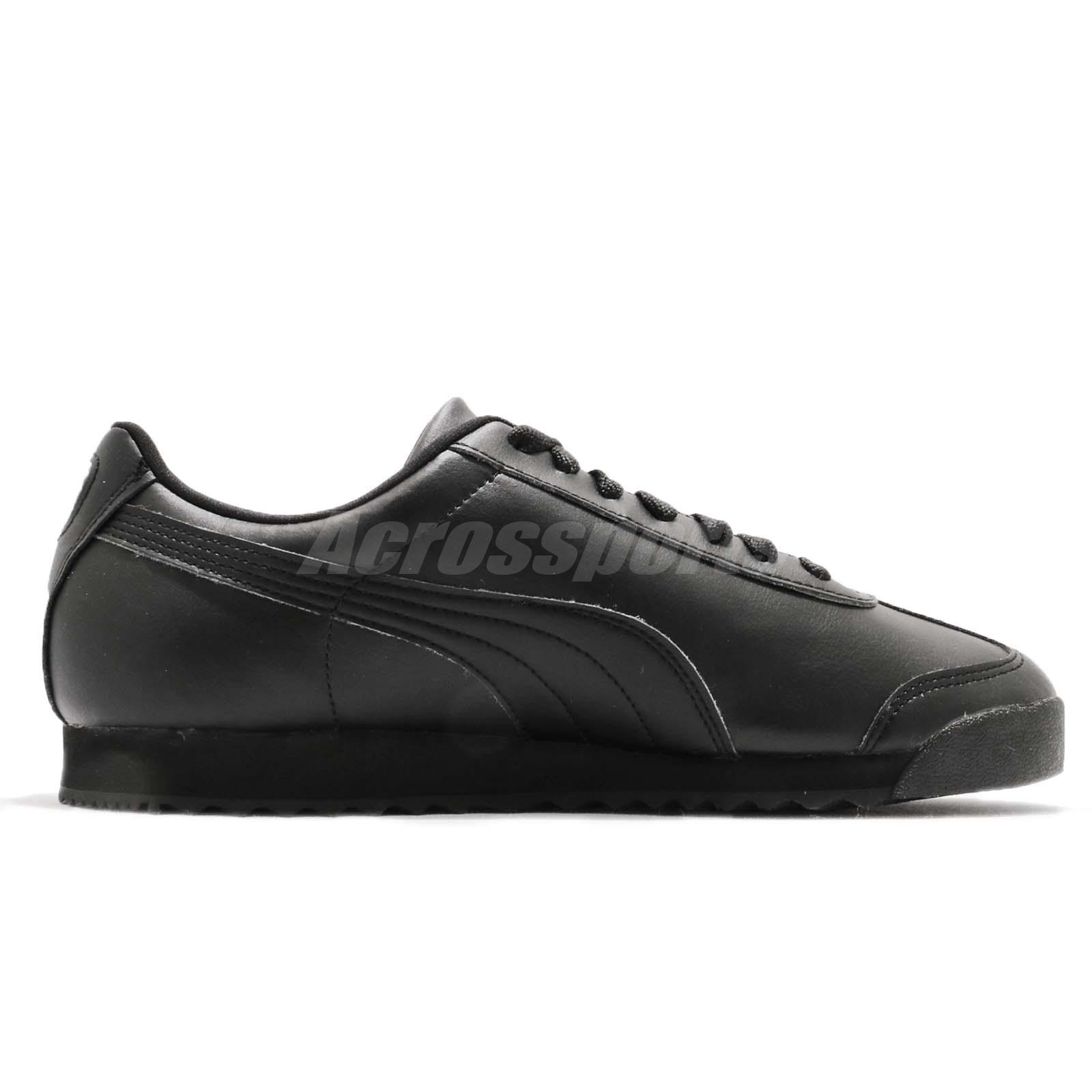 7c1f99c95dc3 Puma Roma Basic Triple Black Men Running Walking Casual Shoes ...