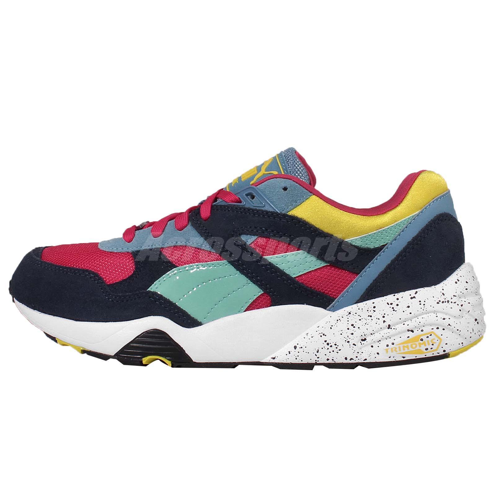 Puma R698 Block Navy Purple Yellow Trinomic Mens Running Shoes 360030 06