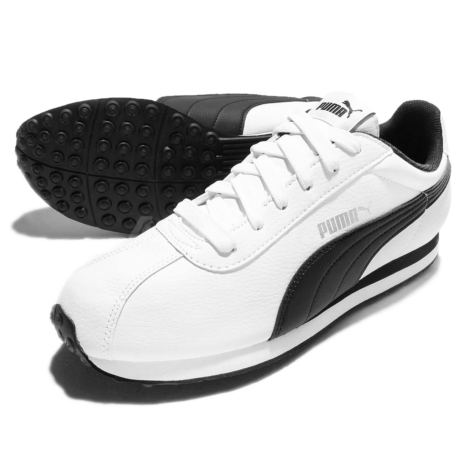 Puma Turin Leather White Black Mens Vintage Casual Shoes ...