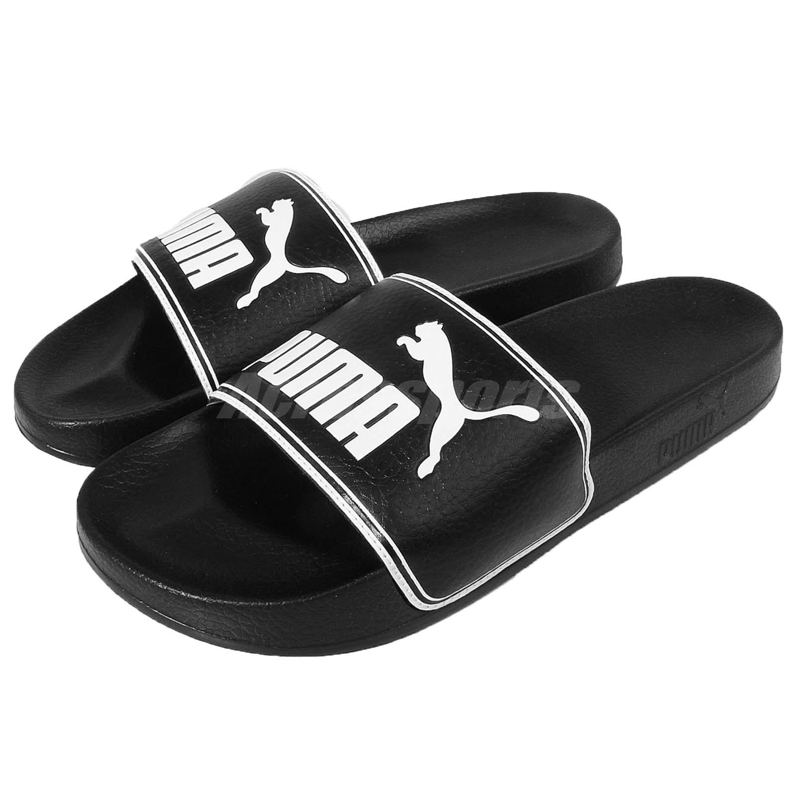 a42810d8213a Details about Puma Leadcat Black White Big Logo Men Sandals Slides Slippers  360263-01