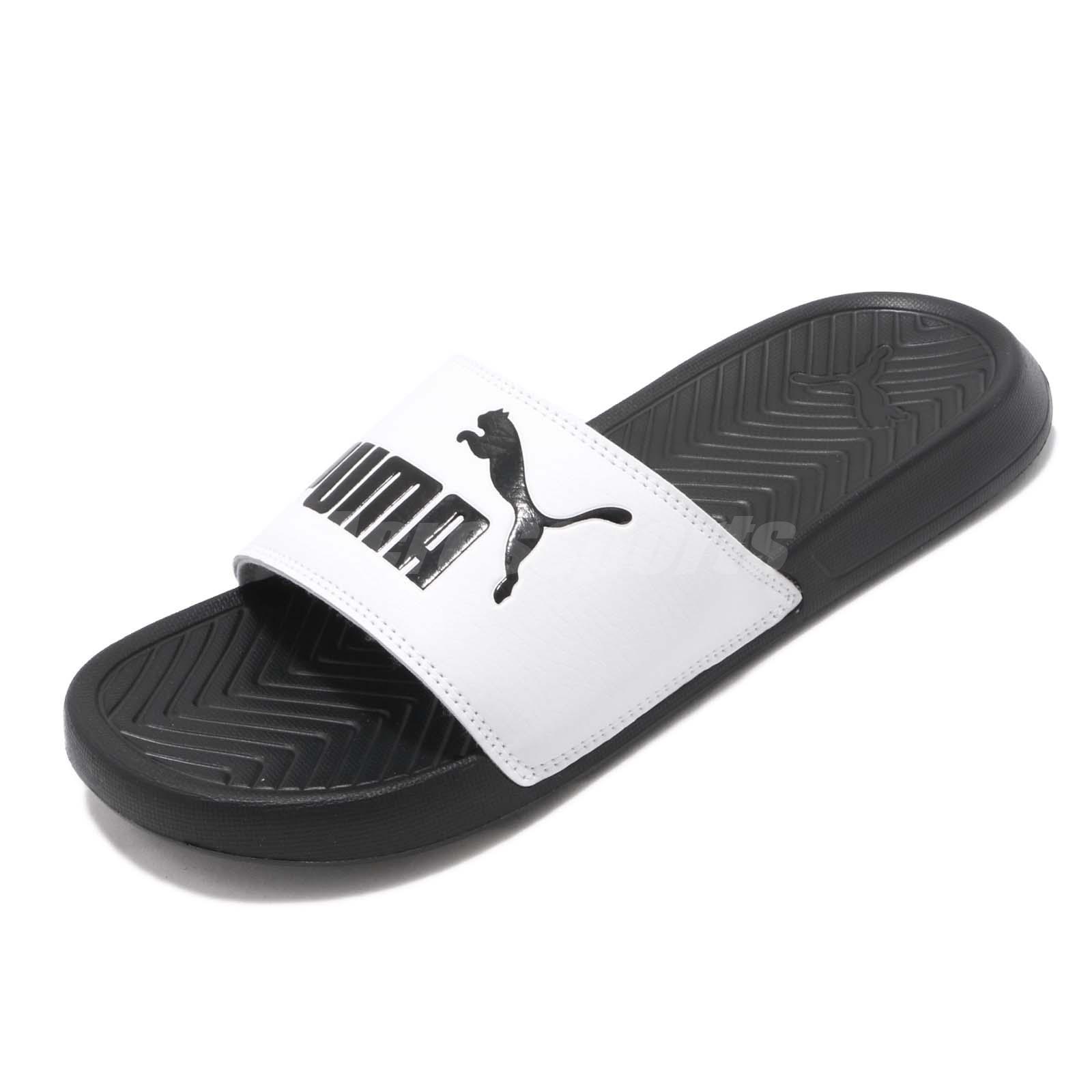 f017064f0793 Puma Popcat Logo Black White Men Women Unisex Sports Sandals Slides 360265- 01