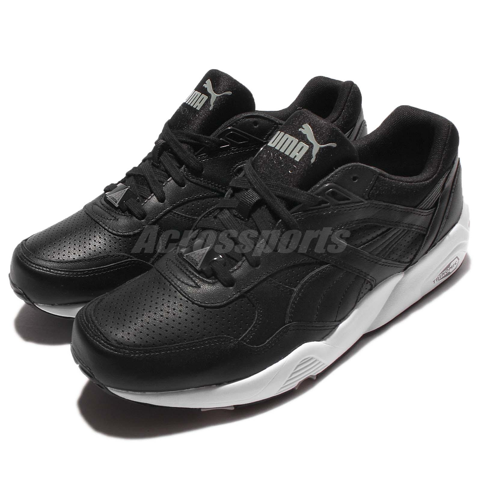 3ffe79af7d99 Details about Puma R698 Core Leather Trinomic Black White Men Running Shoes  Sneakers 360601-02