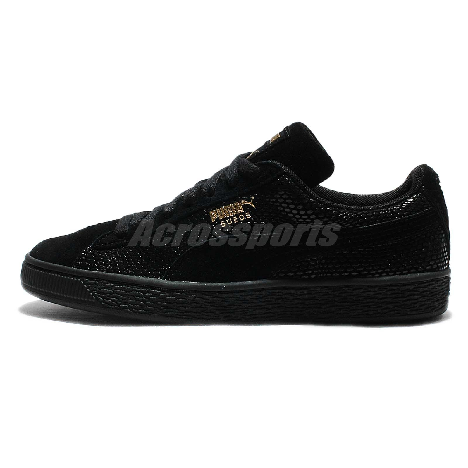 puma shoes suede black. puma suede gold wns pack black womens casual shoes sneakers 361862-01 b