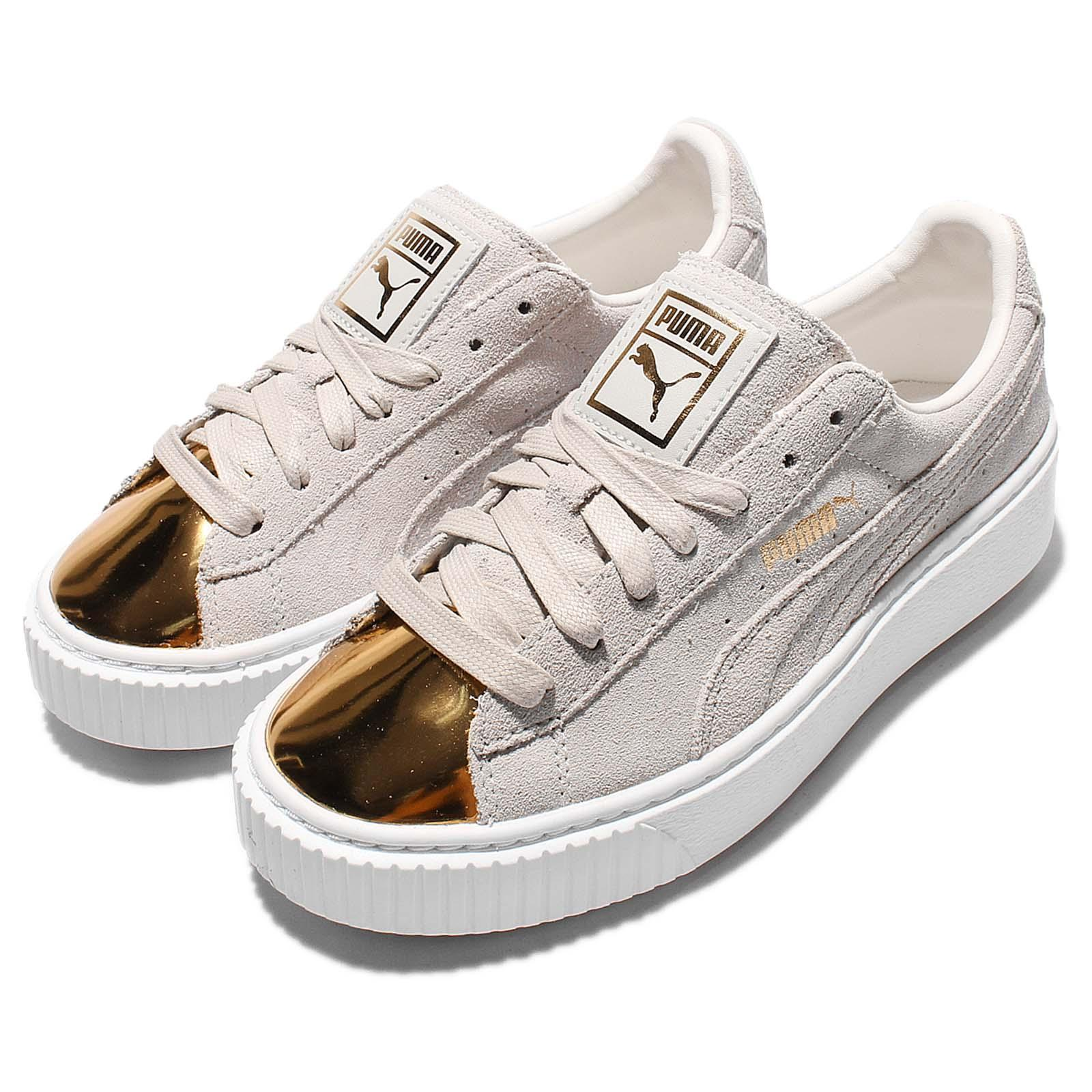 38eafba2ca2 Details about Puma Suede Platform Gold Toe Pack Beige Rihanna Womens Shoes  362222-01