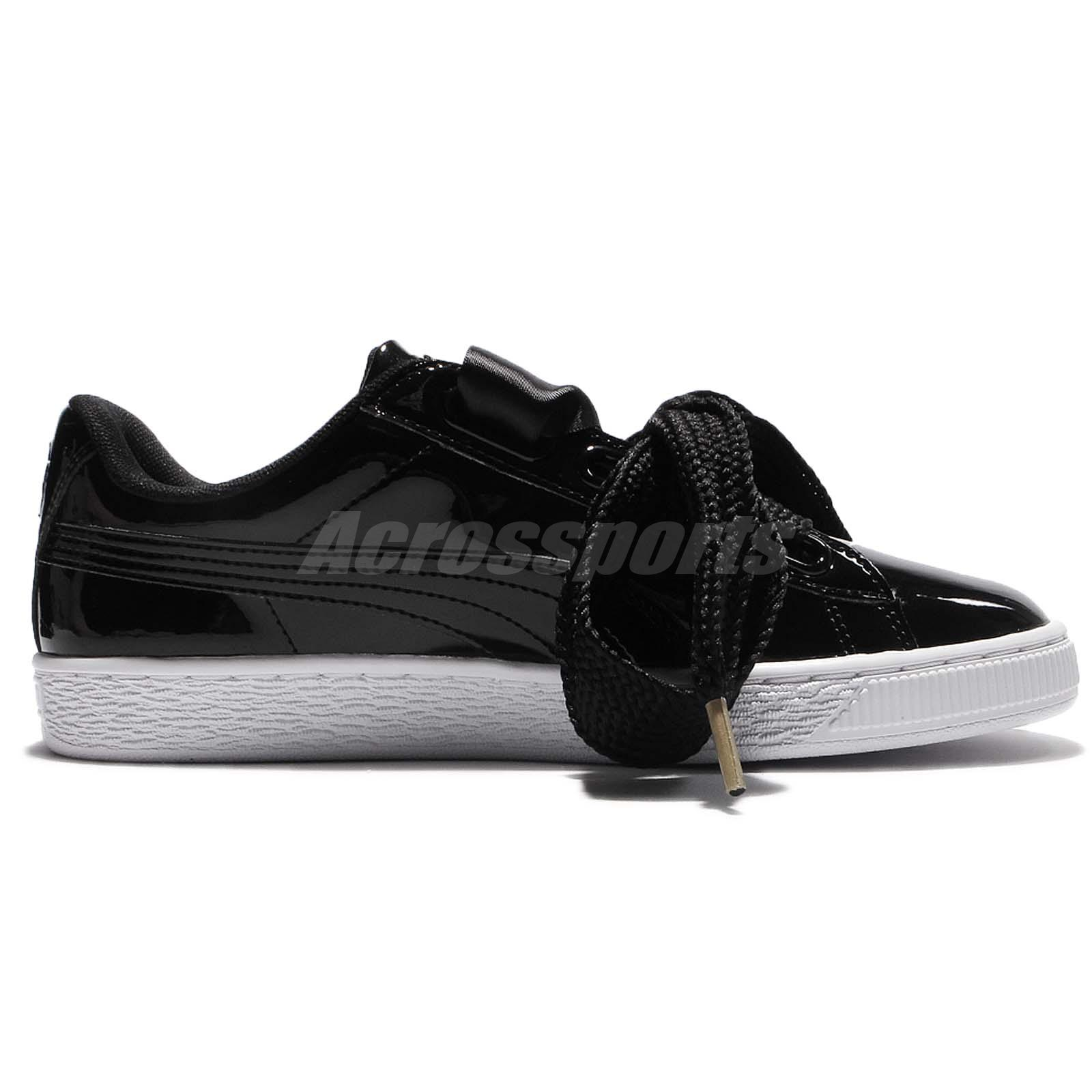 Details about Puma Basket Heart Patent Wns Black White Bow Women Shoes Sneakers 363073 01