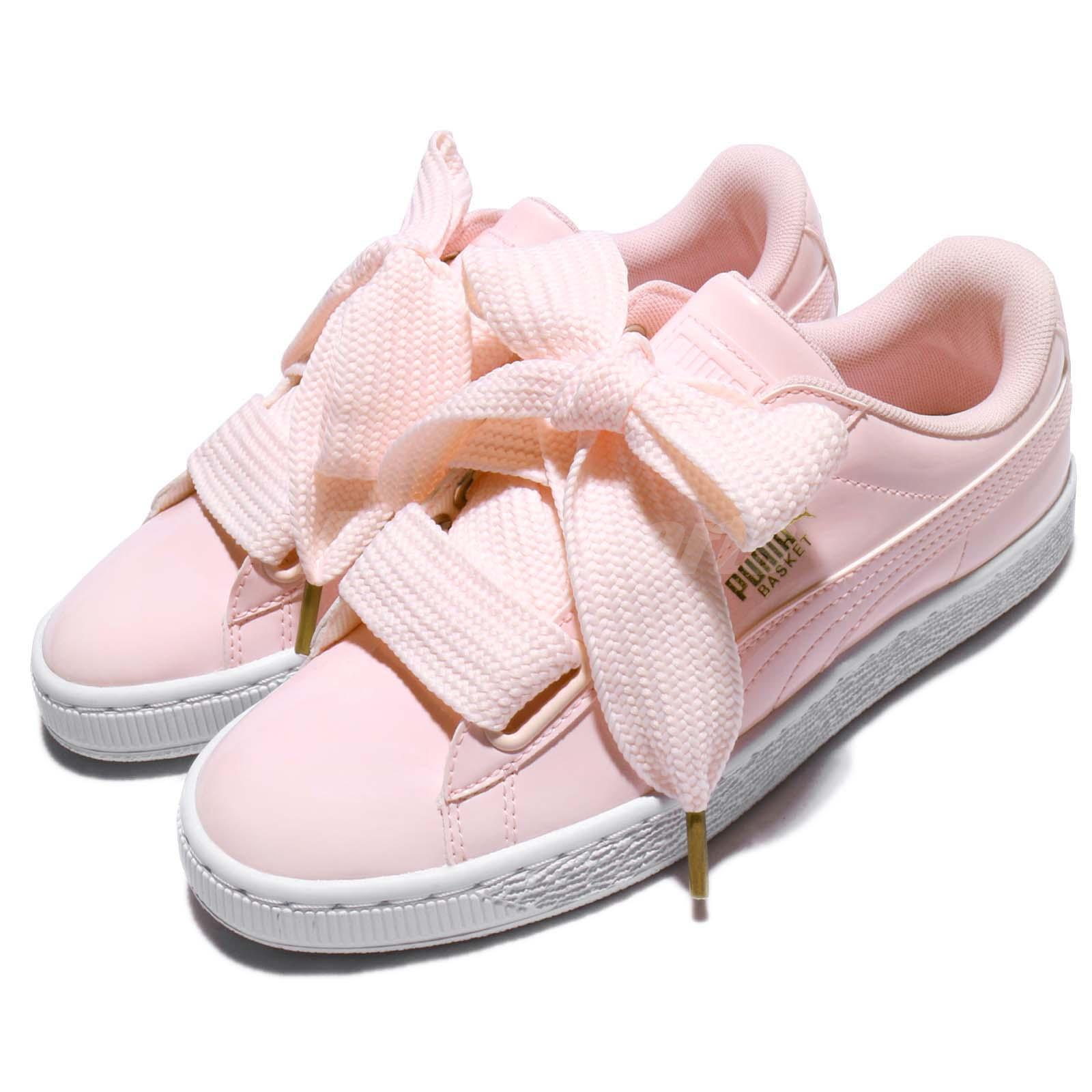 Puma Basket Heart Patent Wns Pearl Pink Gold Patent Leather Women Shoe 363073 14