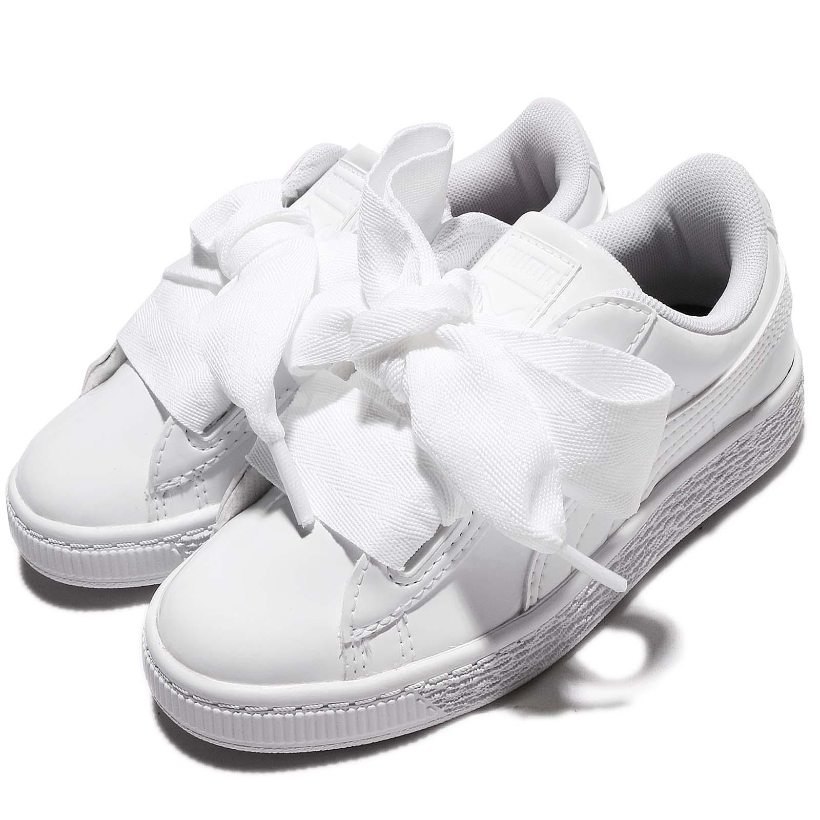 Details about Puma Basket Heart Patent PS Leather White Kids Junior Girls Shoes 36335202