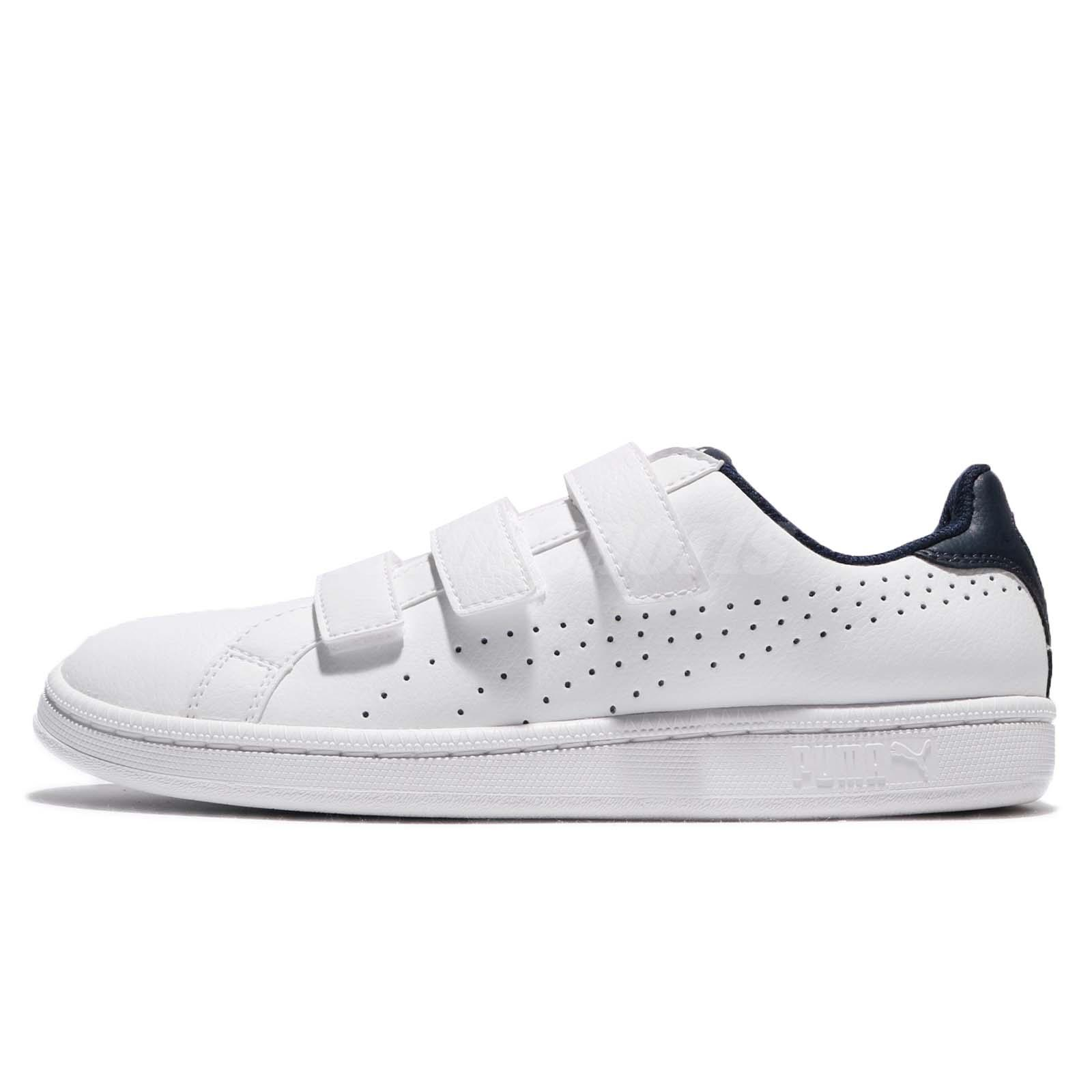 ae7f9a7a4eba Puma Smash Strap White Peacoat Leather Men Women Shoes Sneakers Trainer  36372301