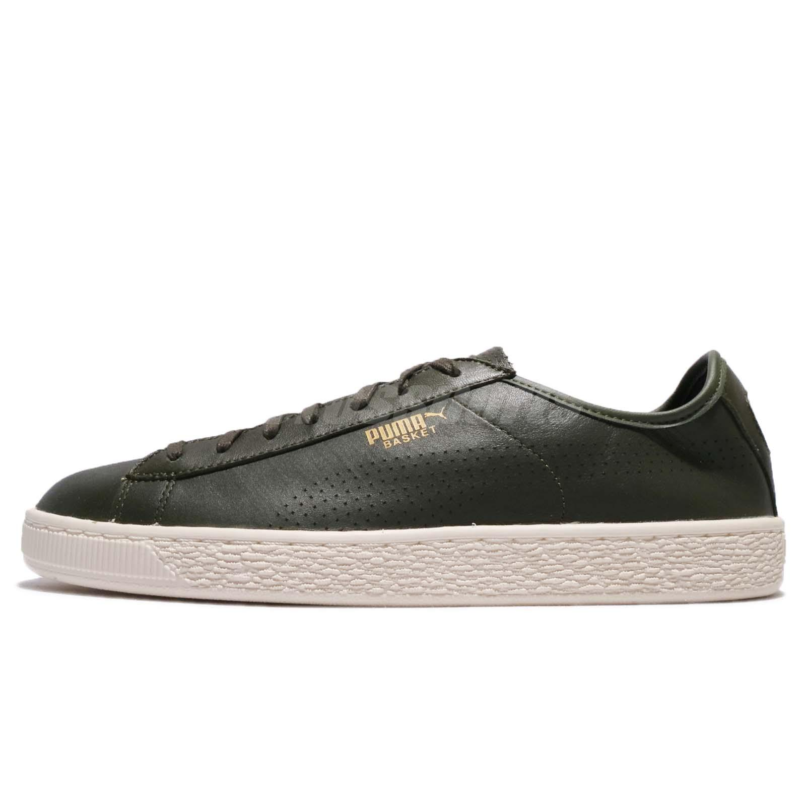 aad2795bb772 Puma Basket Classic Soft Leather Olive Ivory Men Shoes Sneakers 363824-03
